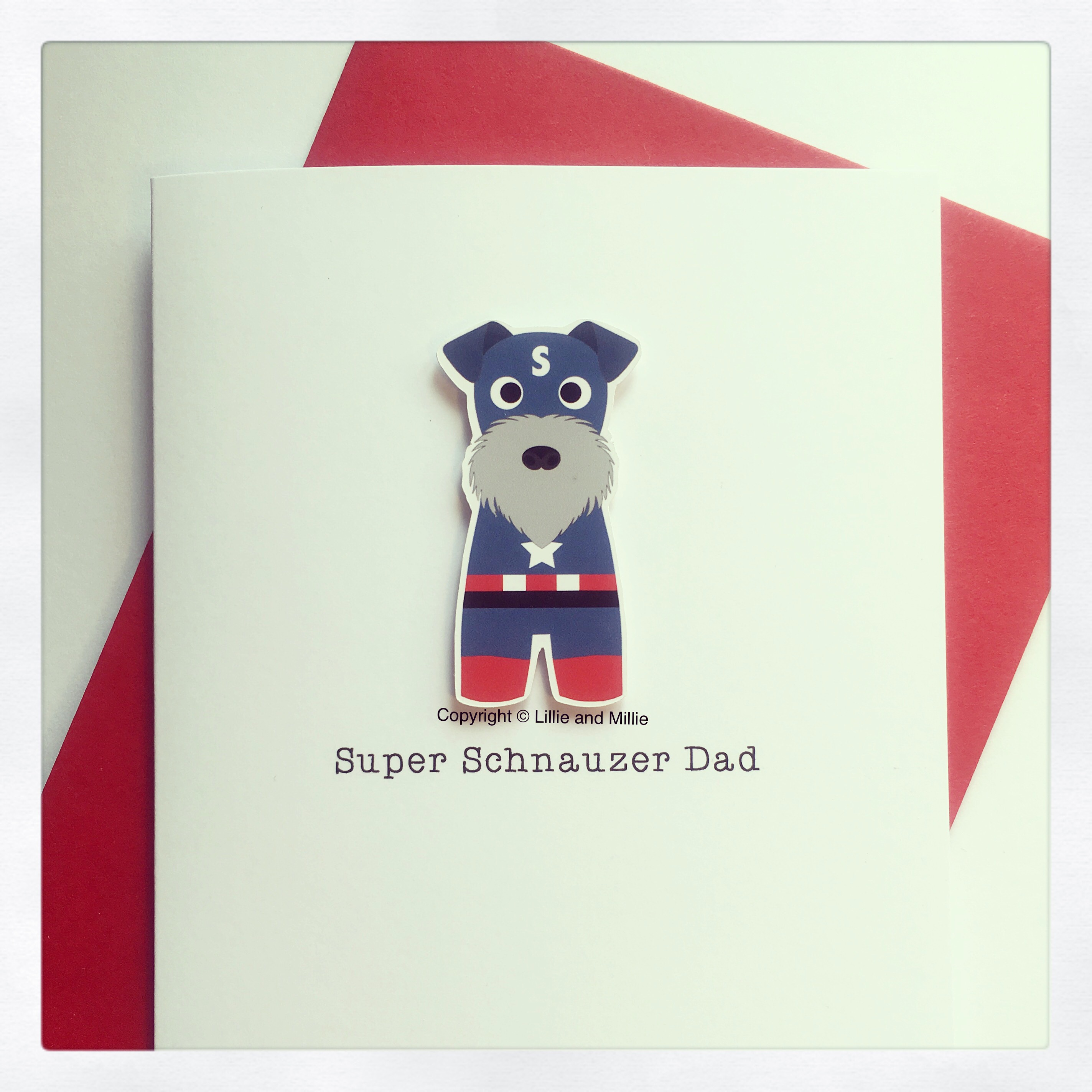 Cute and Cuddly Salt and Pepper Super Captain Schnauzer Dad Card