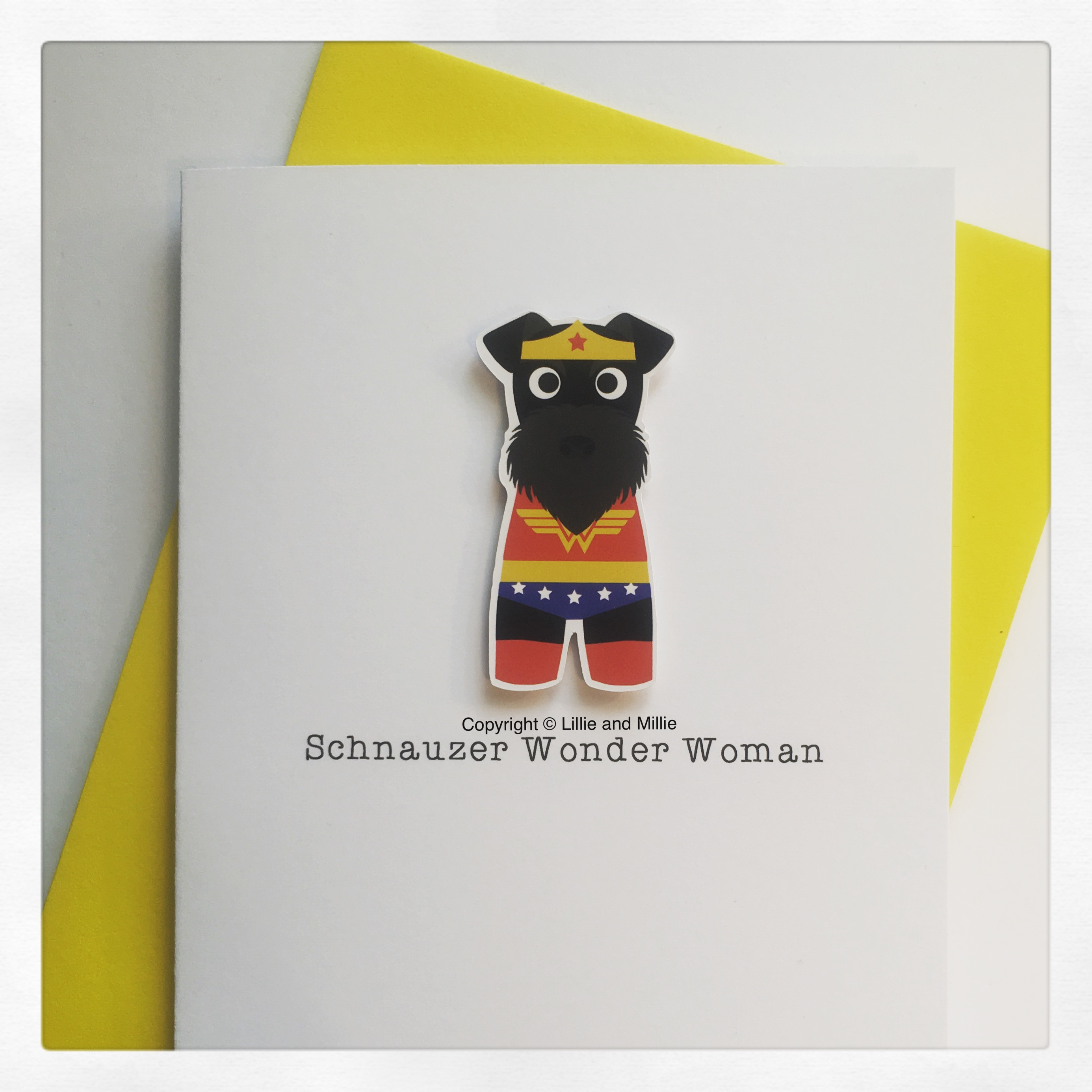 Cute and Cuddly Black Schnauzer Wonder Woman Card