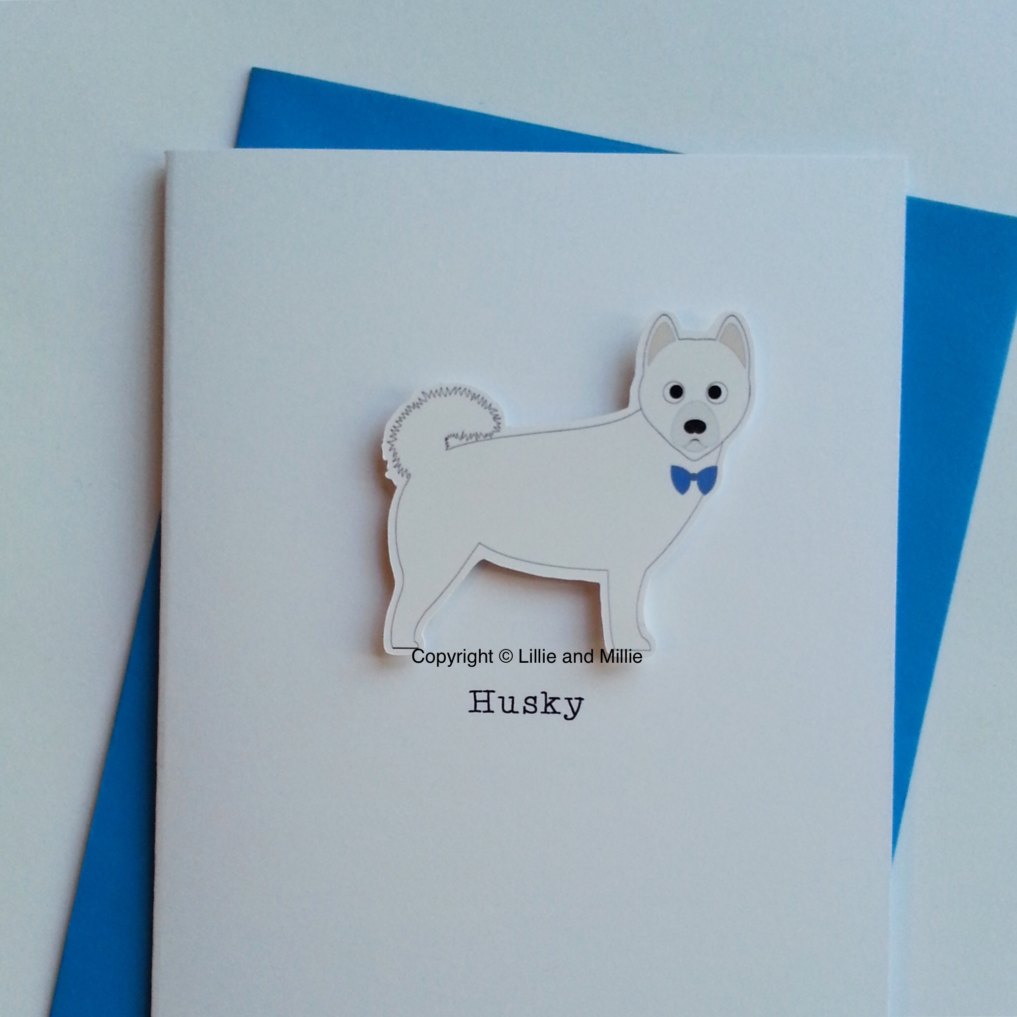 Cute and Cuddly White Husky Card