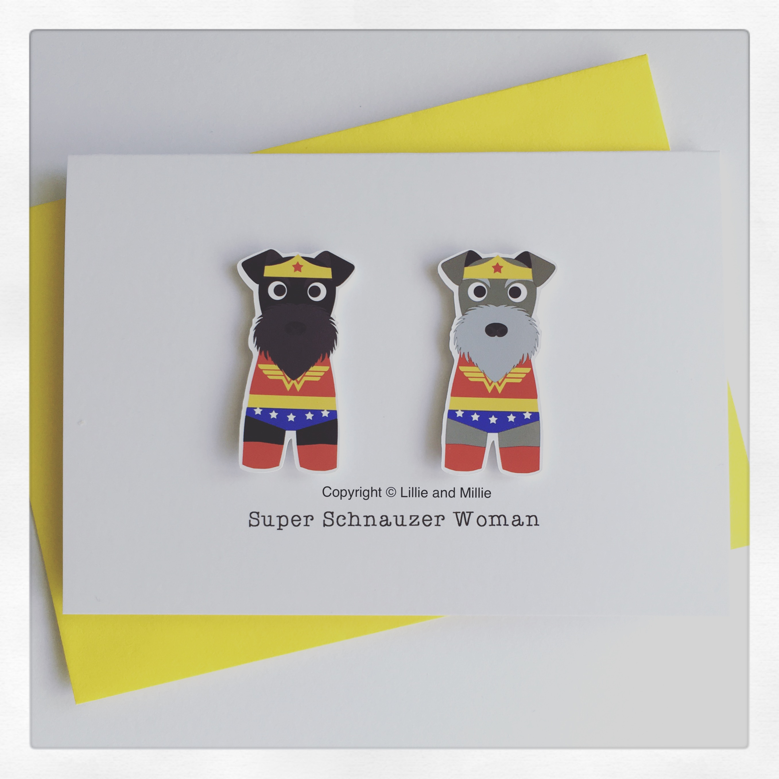 Cute and Cuddly Double Schnauzer Wonder Woman Card