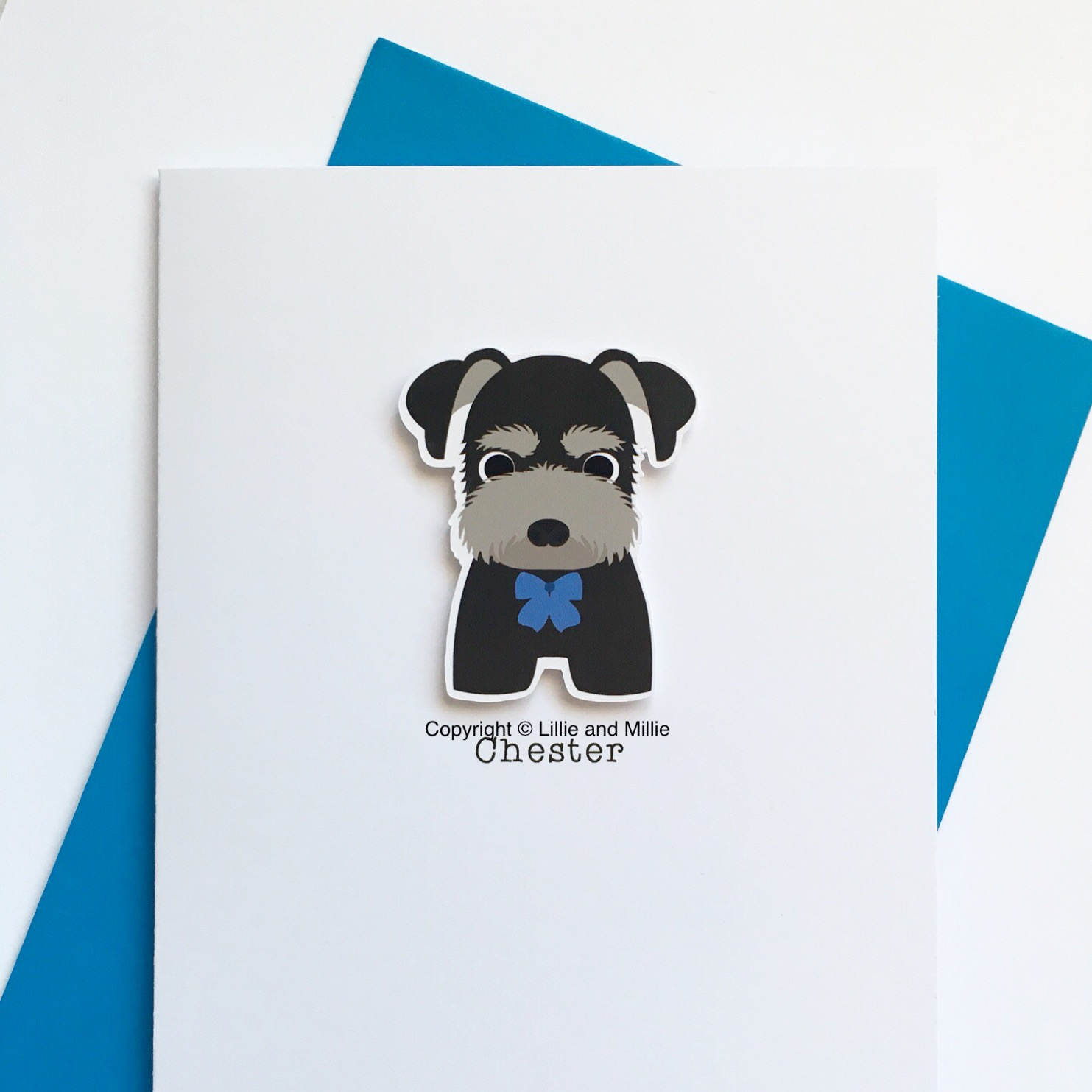 Cute and Cuddly Schnauzer Puppy Pack Black and Silver with Blue Bow Card