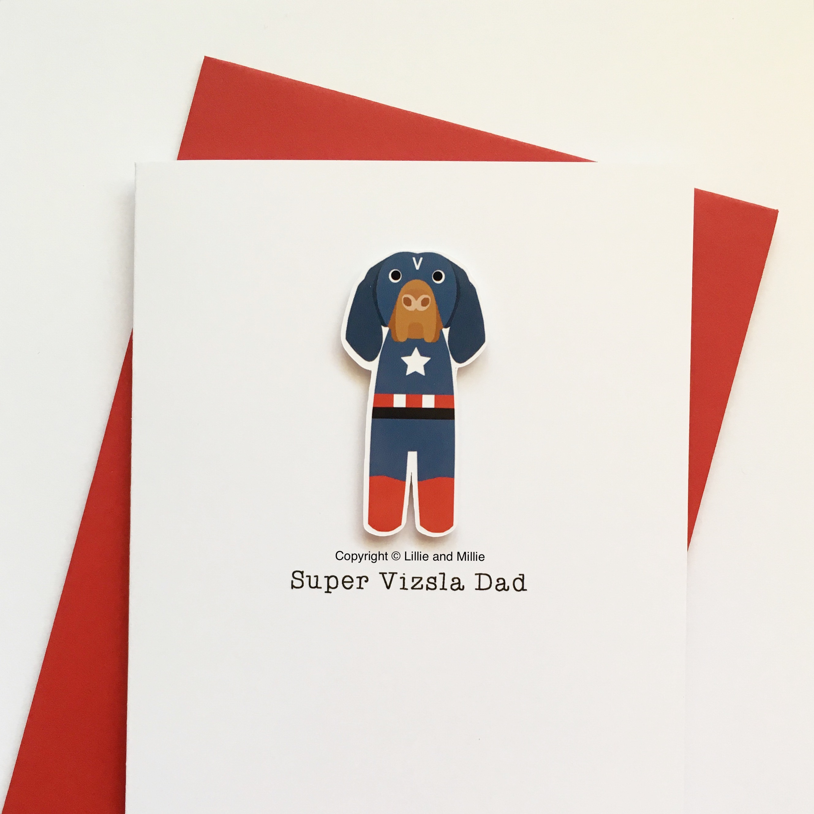 Precious Pooch Captain Vizsla Super Dad Card