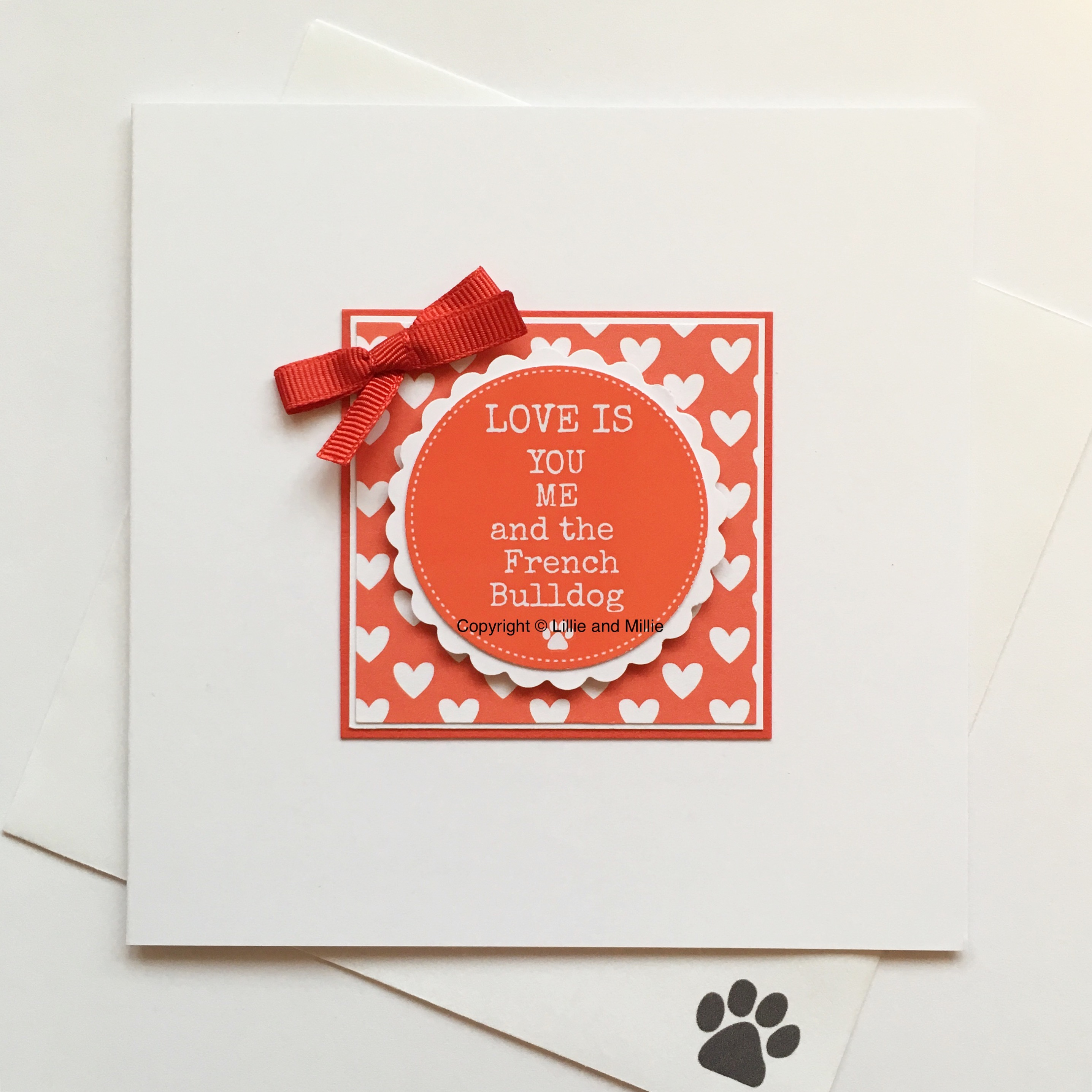Love is You Me and the French Bulldog Red Card