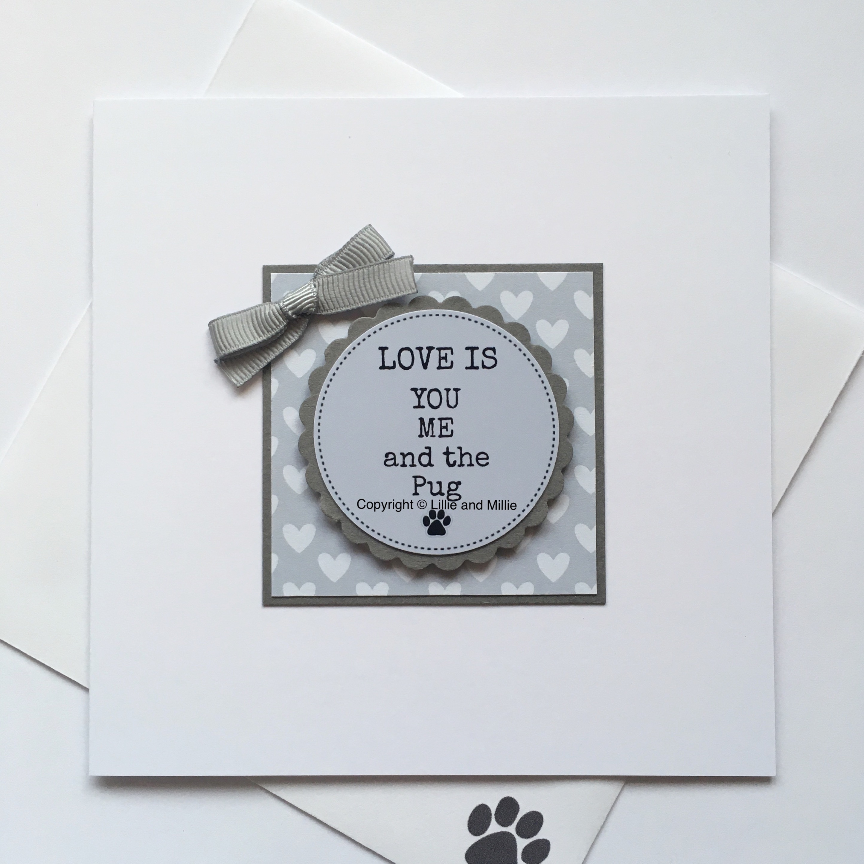 Love is You Me and the Pug Blue Card