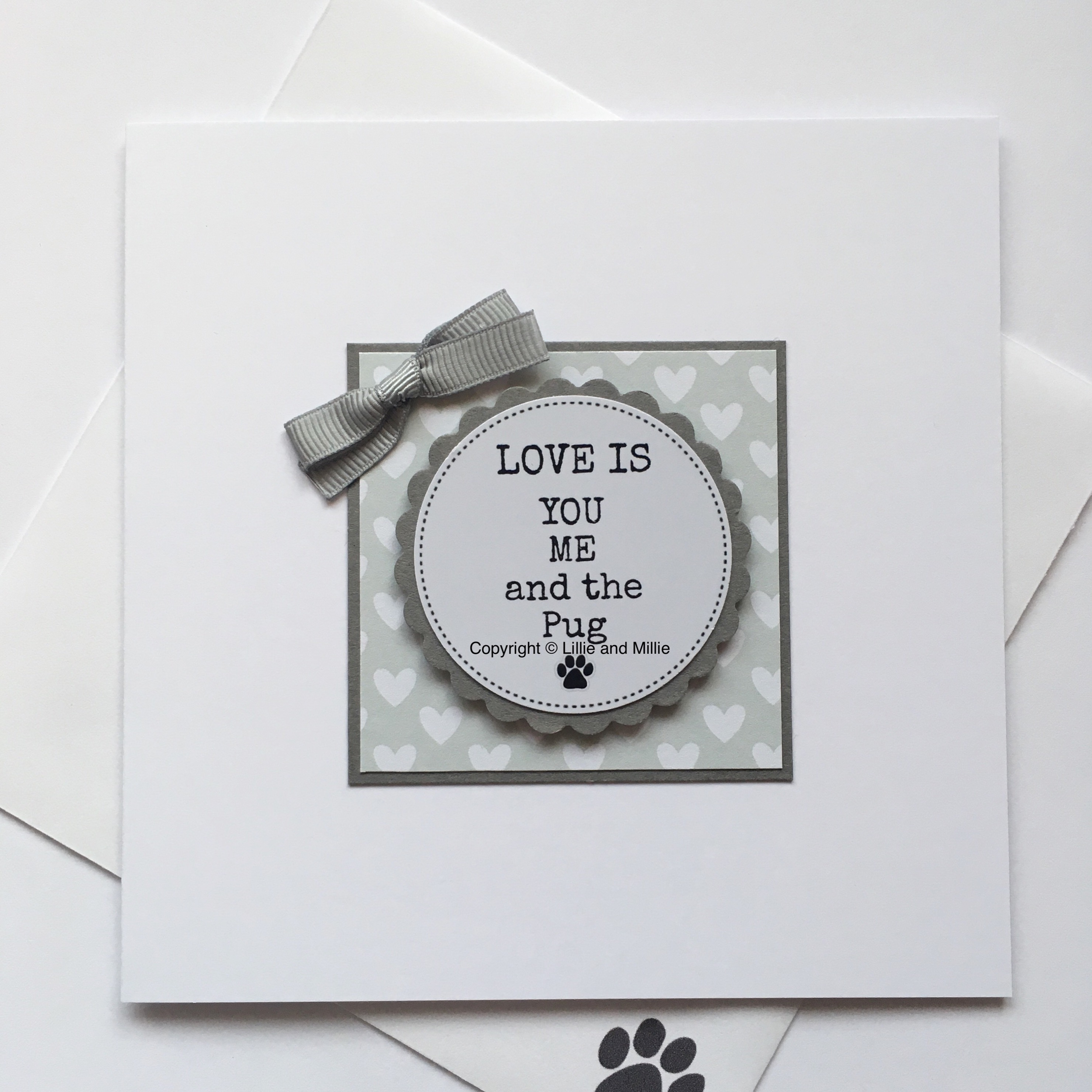 Love is You Me and the Pug Mint Card