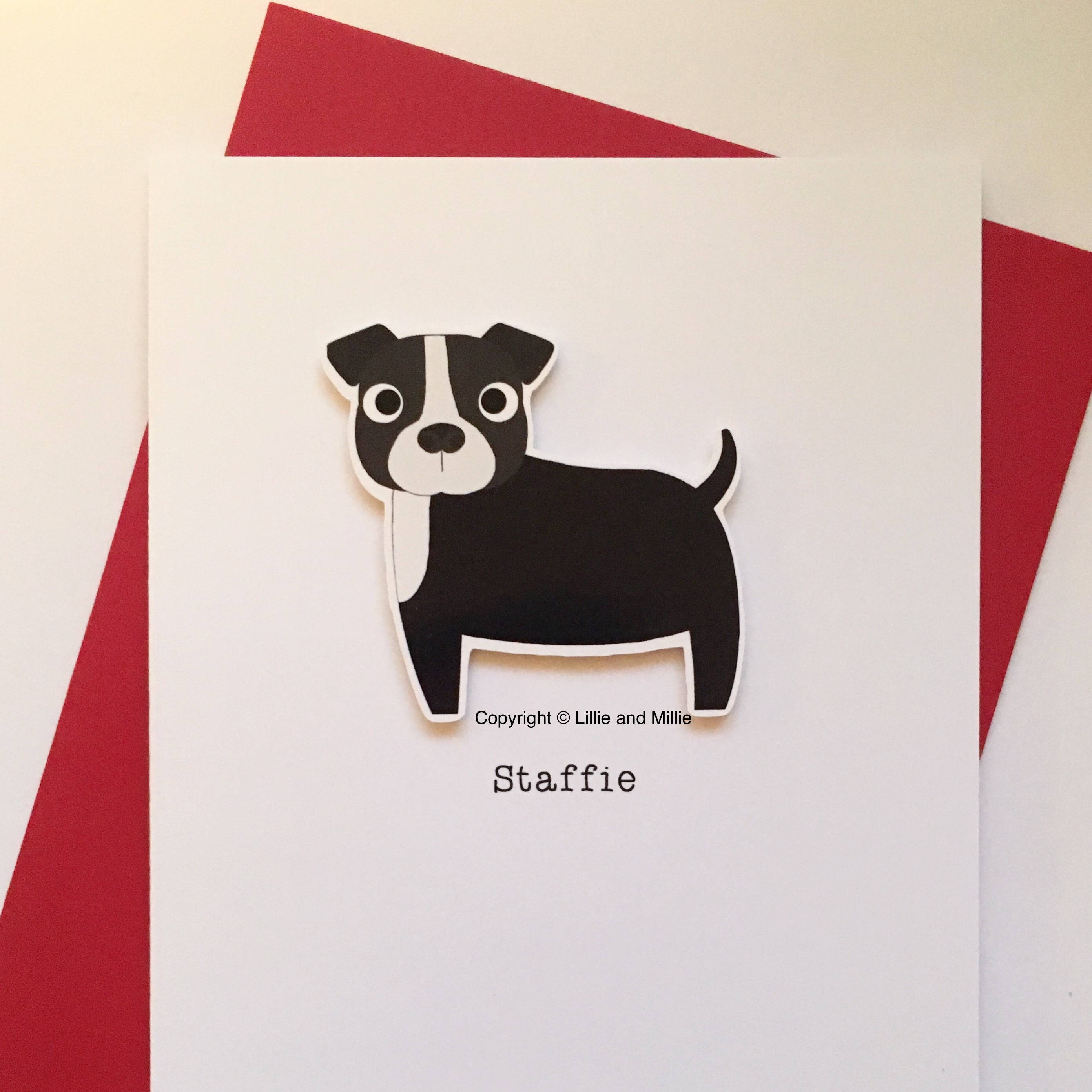 Cute and Cuddly Black and White Staffie Card