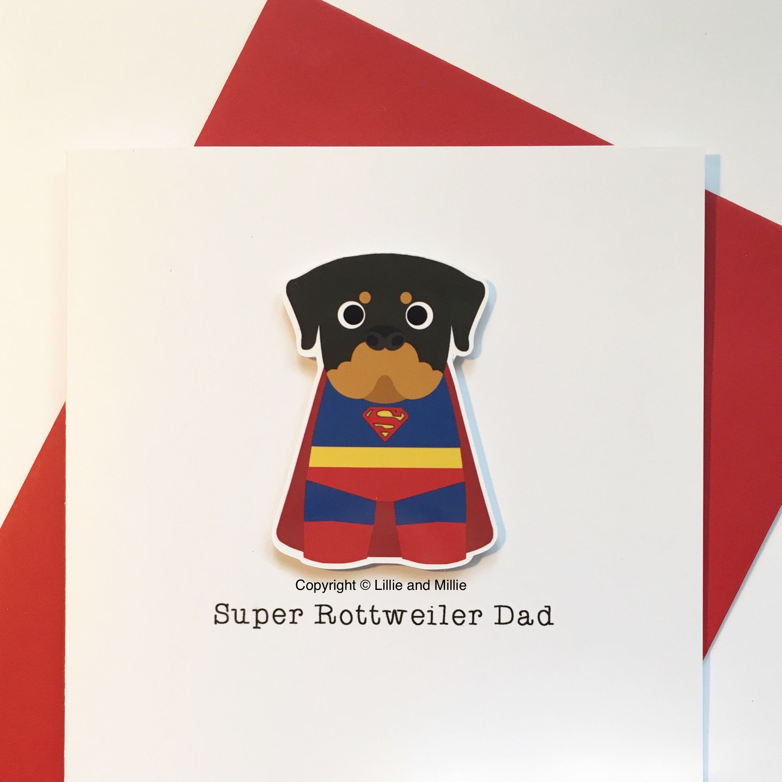 Cute and Cuddly Super Rottweiler Dad Card
