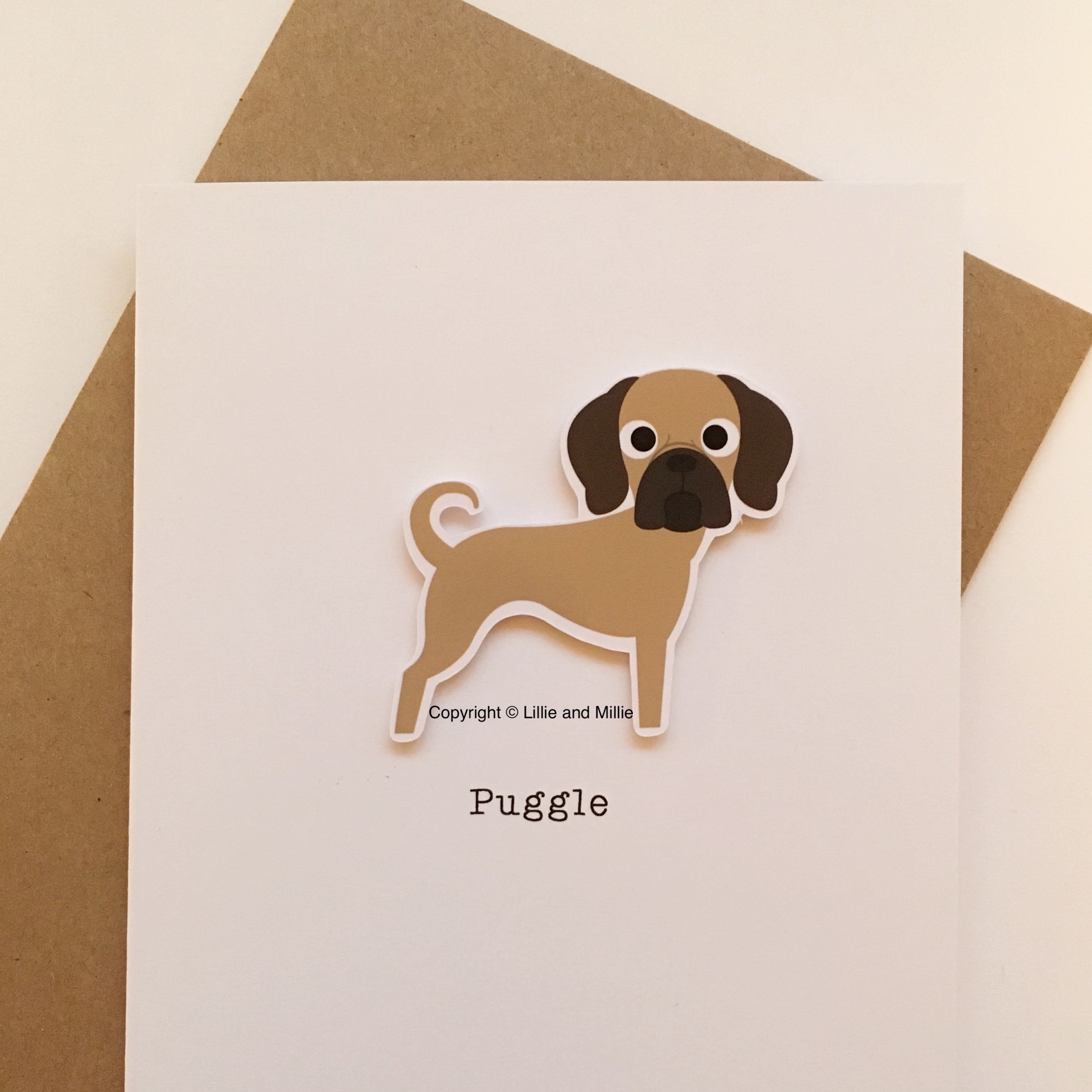 Cute and Cuddly Puggle Card