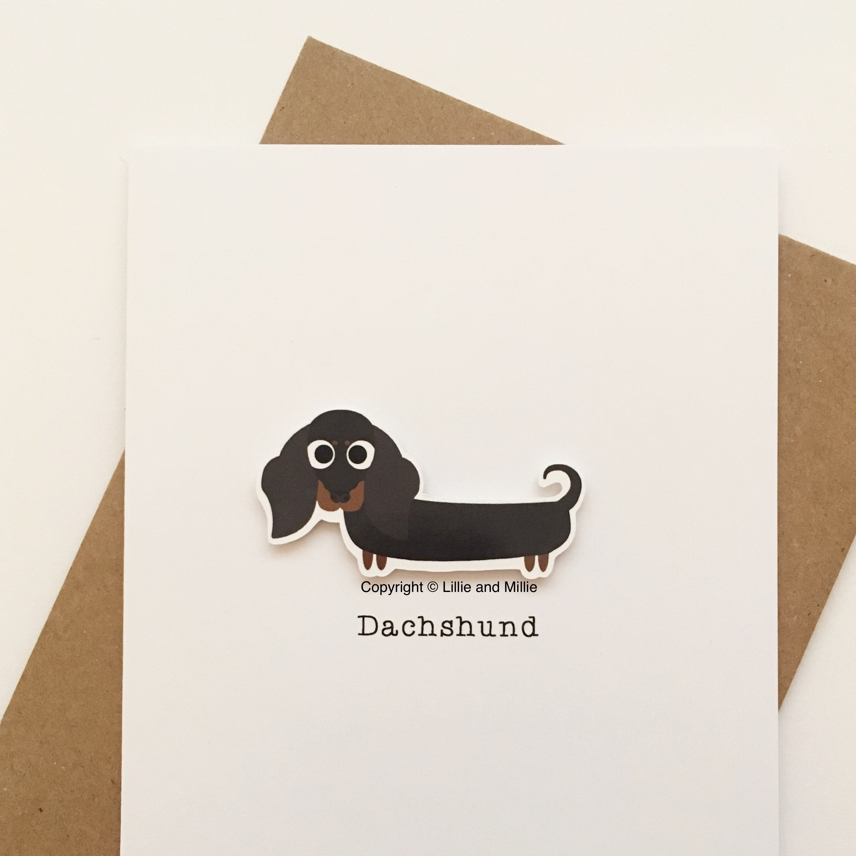 Cute and Cuddly Black and Tan Dachshund No Bow Card