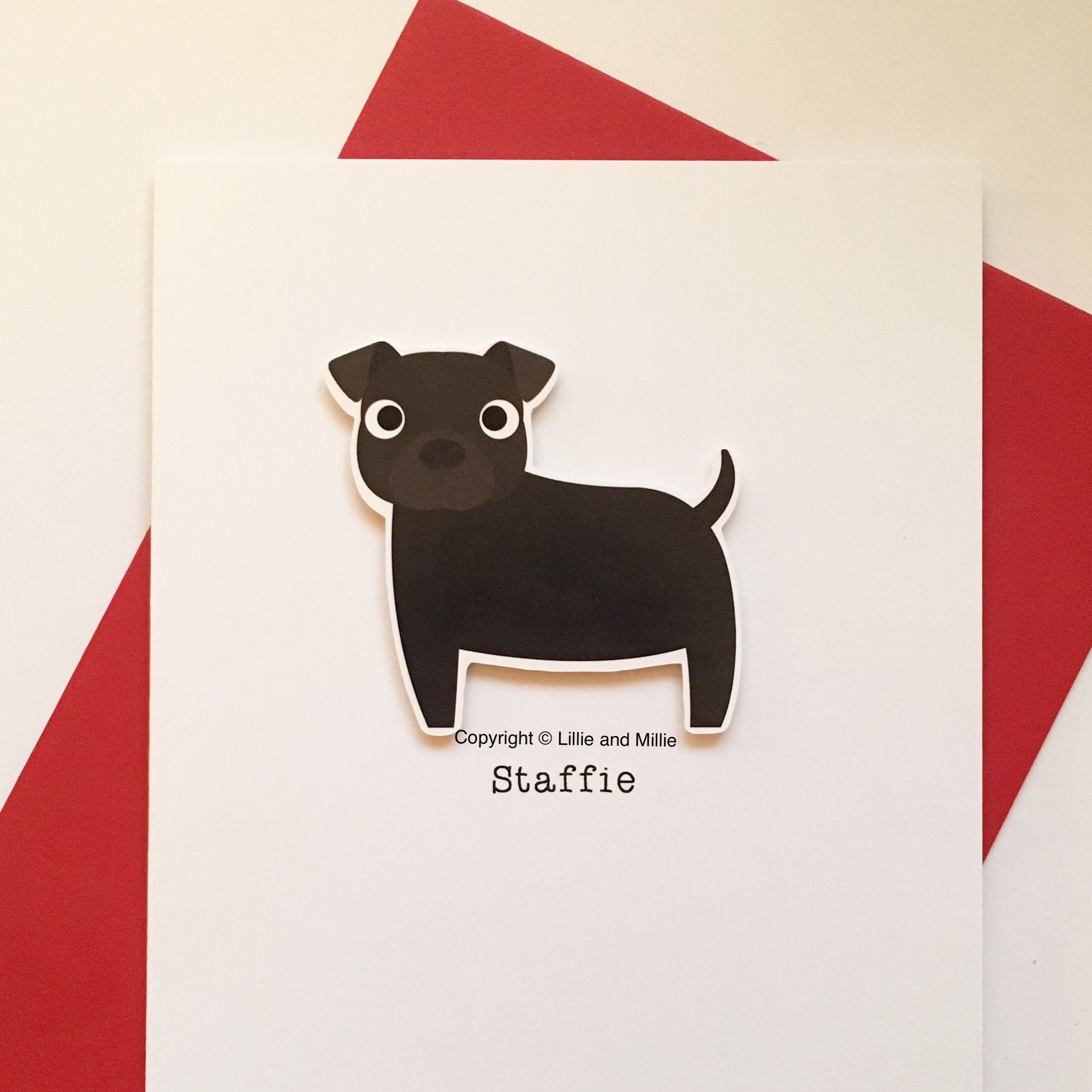 Cute and Cuddly Black Staffie Card