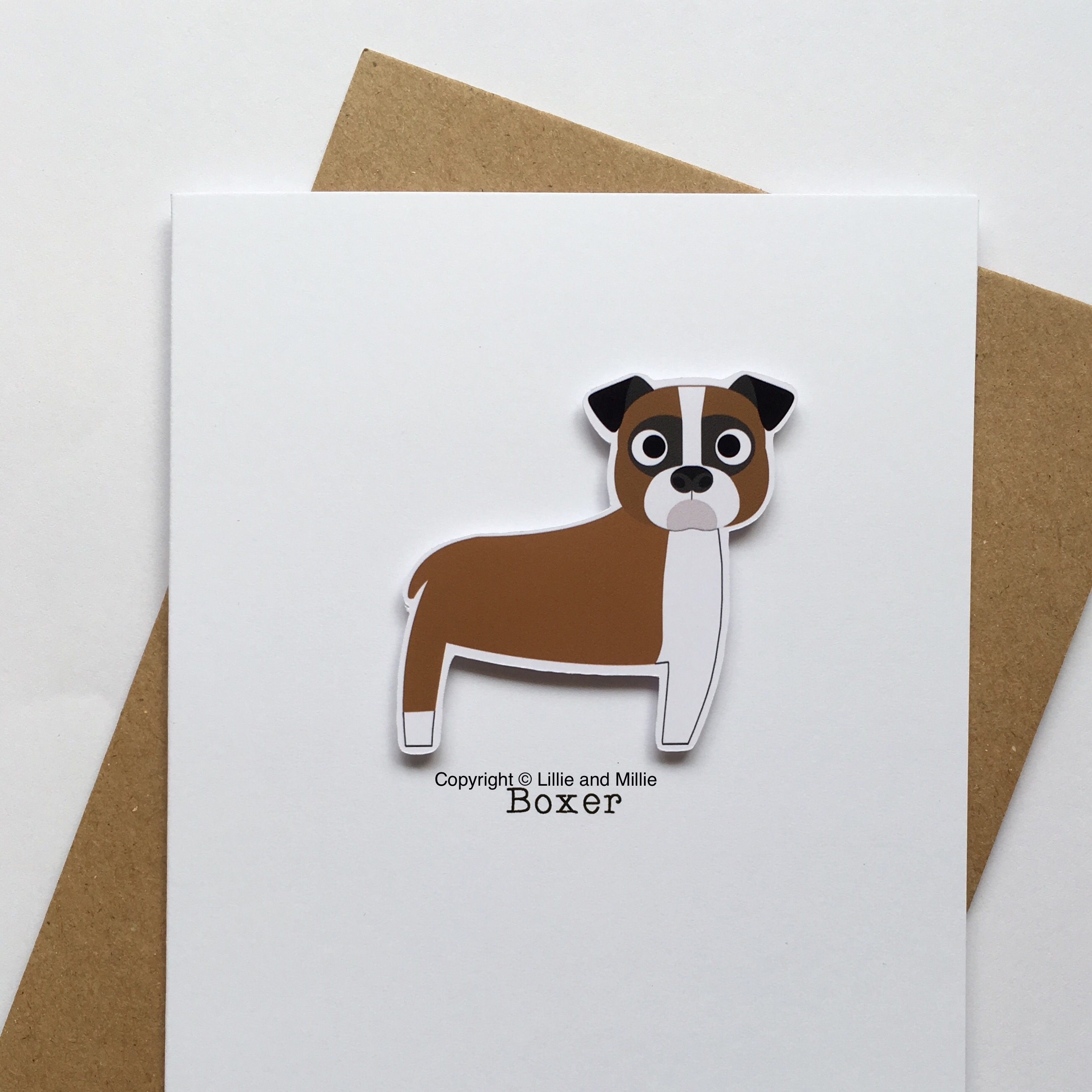 Cute and Cuddly Brown and White Boxer Card