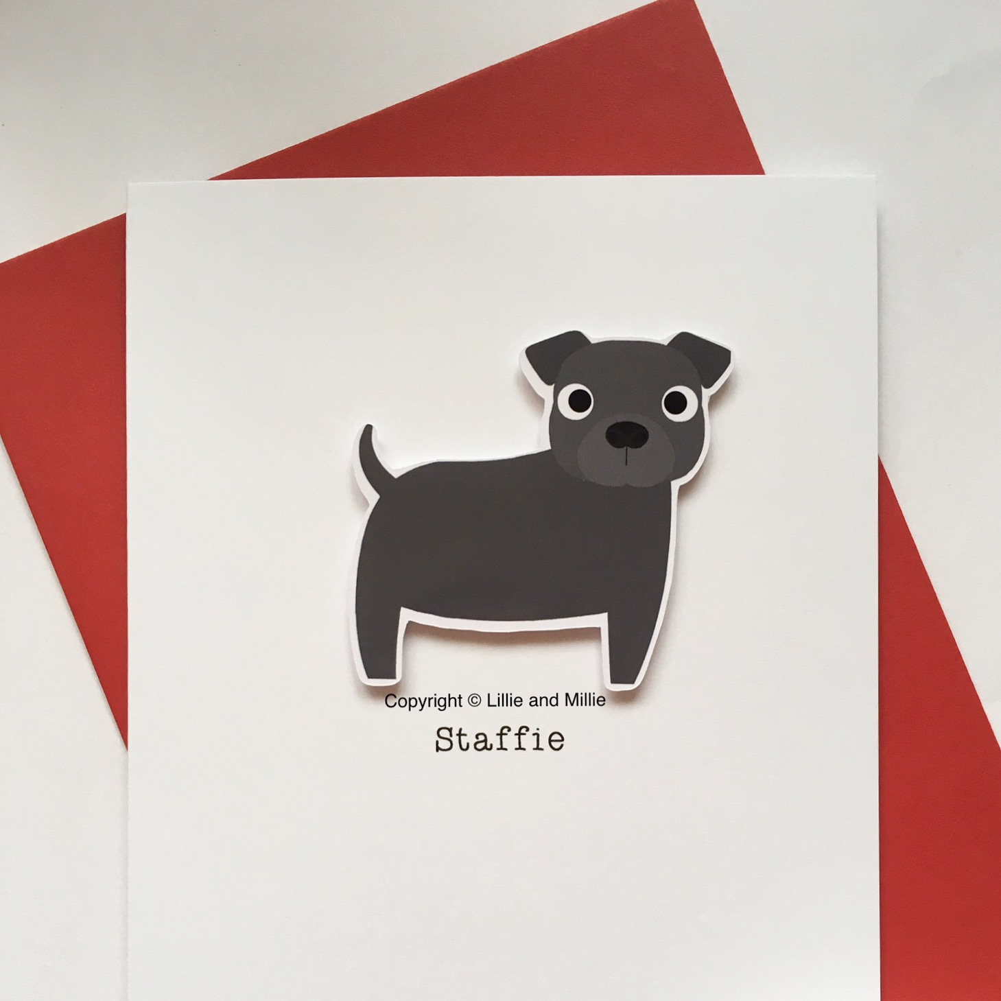 Cute and Cuddly Blue Staffie Card