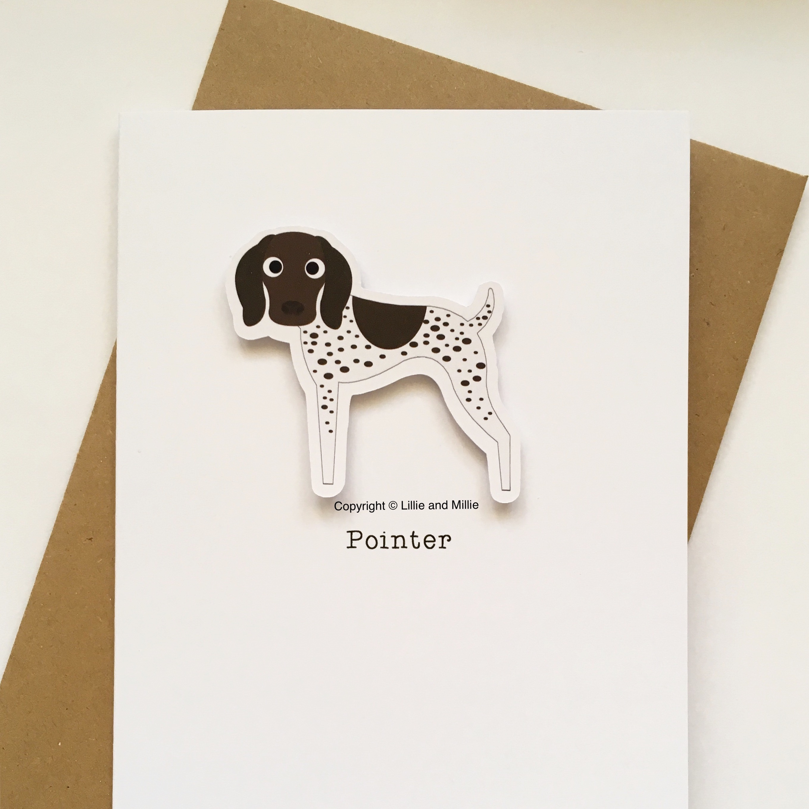 Cute and Cuddly Liver and White Heavy Ticking Pointer Card