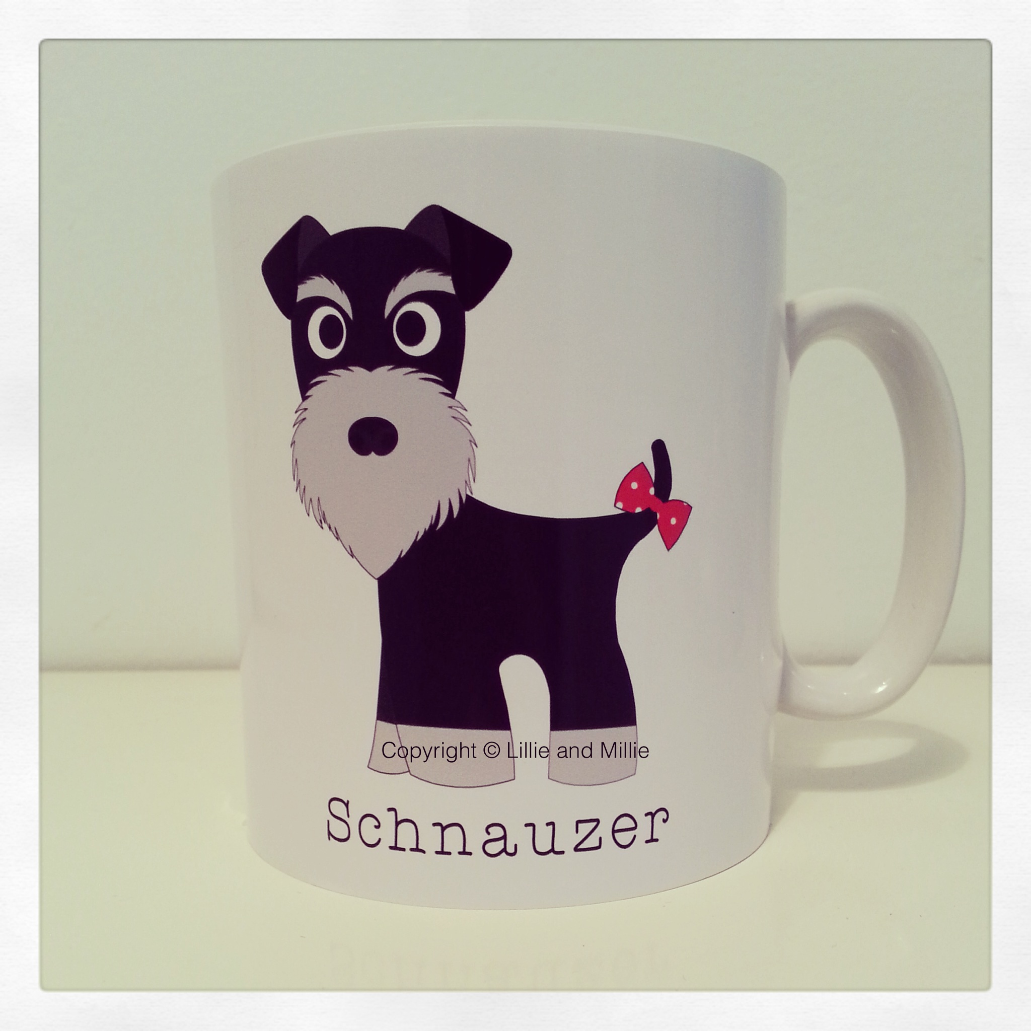 Cute and Cuddly Black and Silver Schnauzer Mug