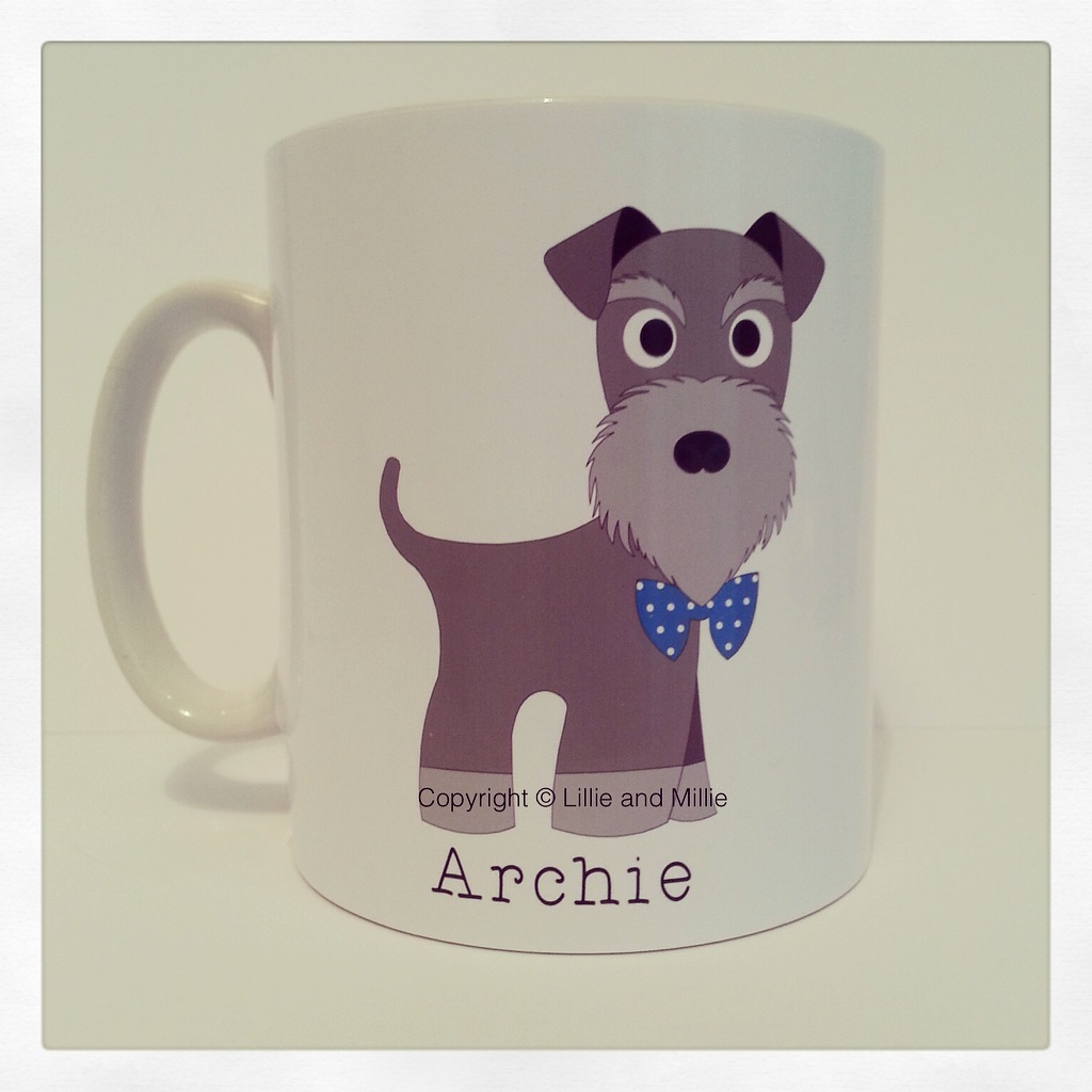 Cute and Cuddly Salt and Pepper Bow Tie Schnauzer Mug