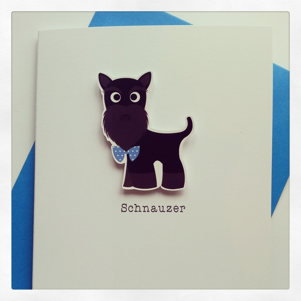 Cute and Cuddly Black Schnauzer Up Ear Card