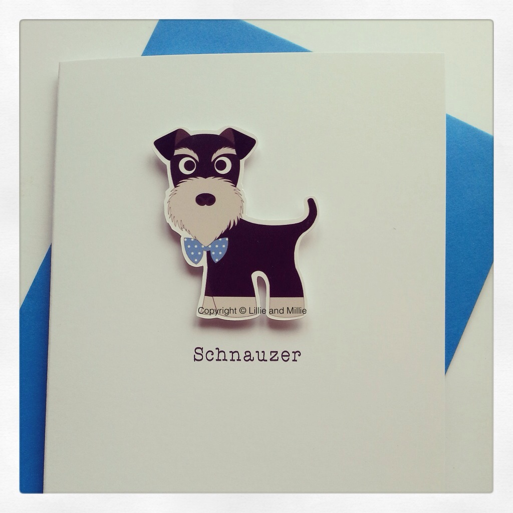 Cute and Cuddly Black and Silver Schnauzer Card