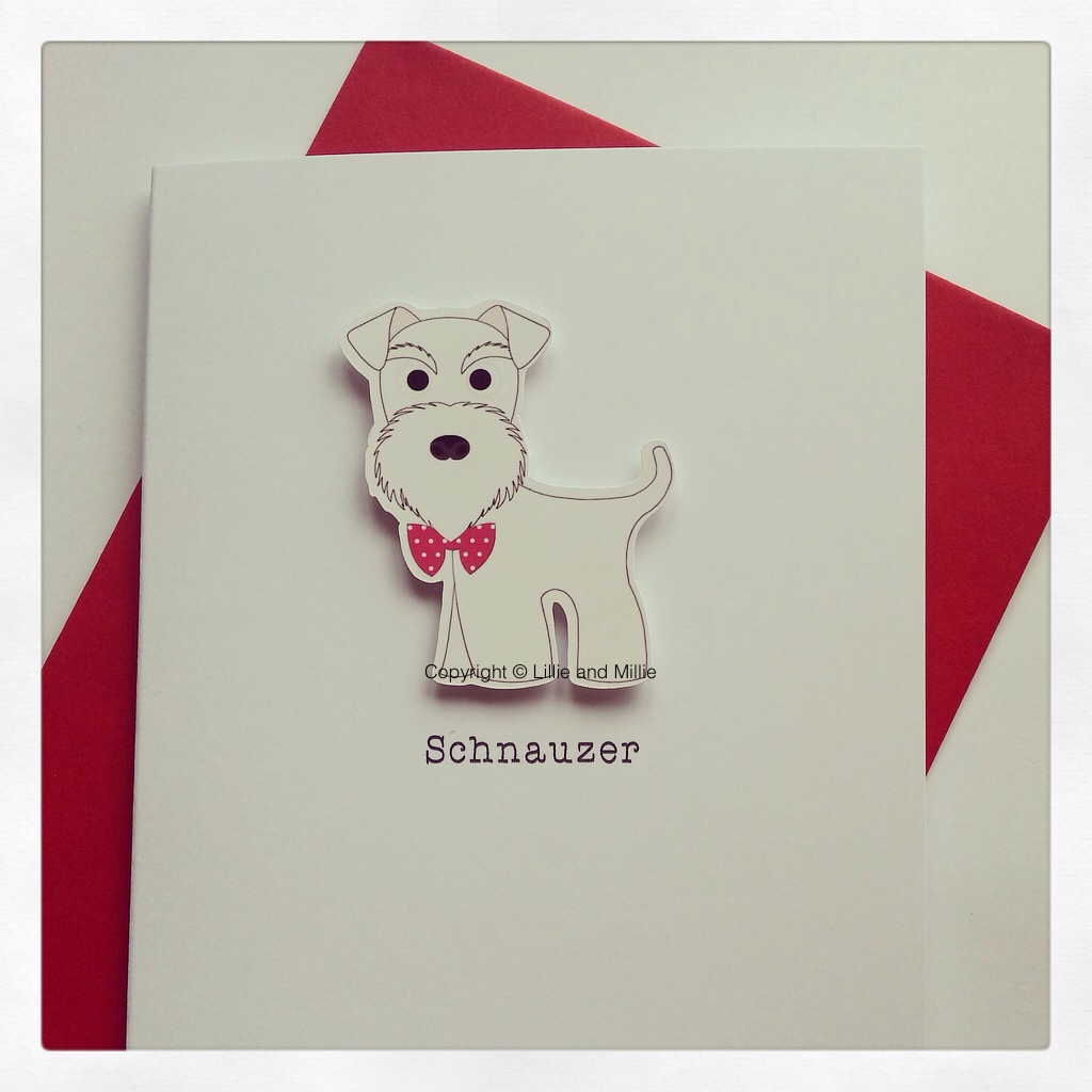 Cute and Cuddly White Schnauzer Card