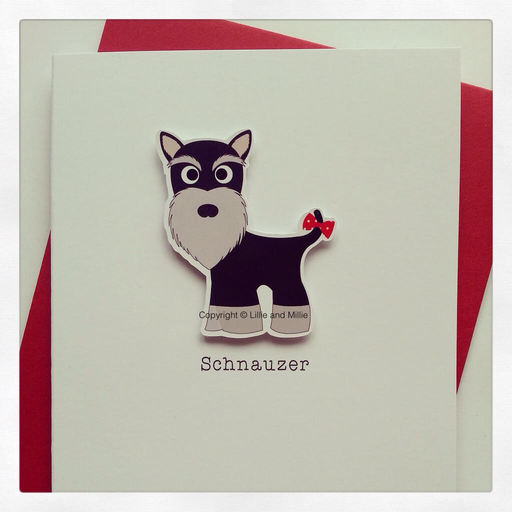 Cute and Cuddly Black and Silver Schnauzer Up Ear Card