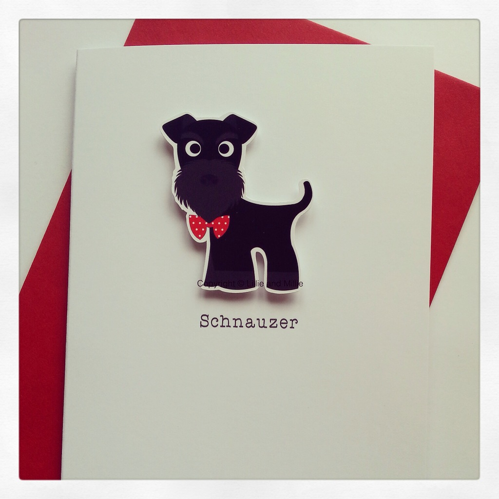 Cute and Cuddly Black Schnauzer Card