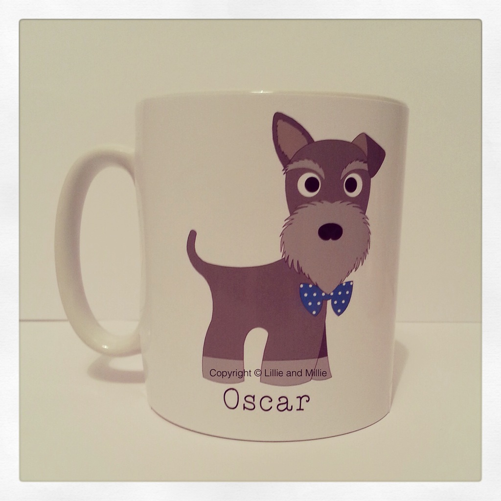 Cute and Cuddly Salt and Pepper Bow Tie Mixed Ears Schnauzer Mug