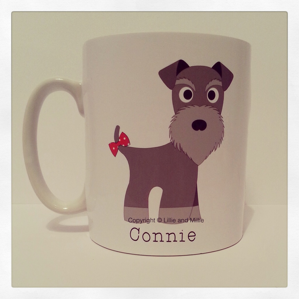 Cute and Cuddly Salt and Pepper Tail Bow Schnauzer Mug