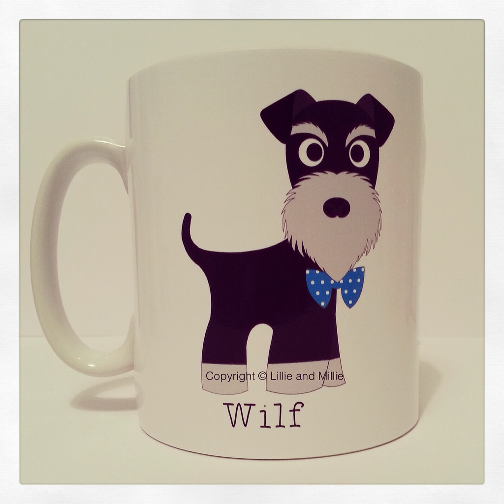 Cute and Cuddly Black and Silver Bow Tie Schnauzer Mug