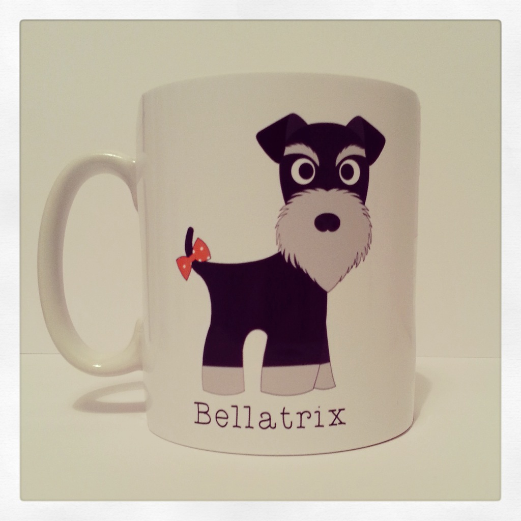 Cute and Cuddly Black and Silver Tail Bow Schnauzer Mug