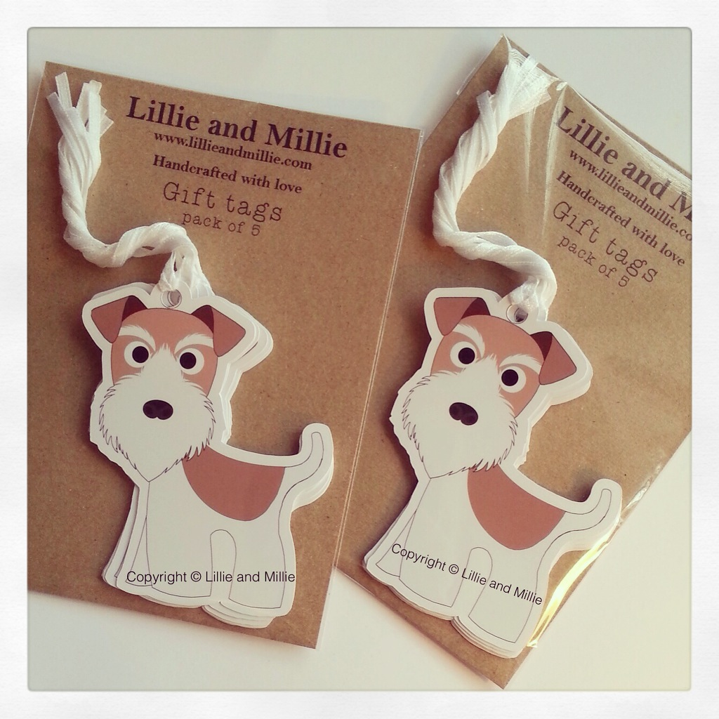 Cute and Cuddly Wire Fox Terrier Gift Tags