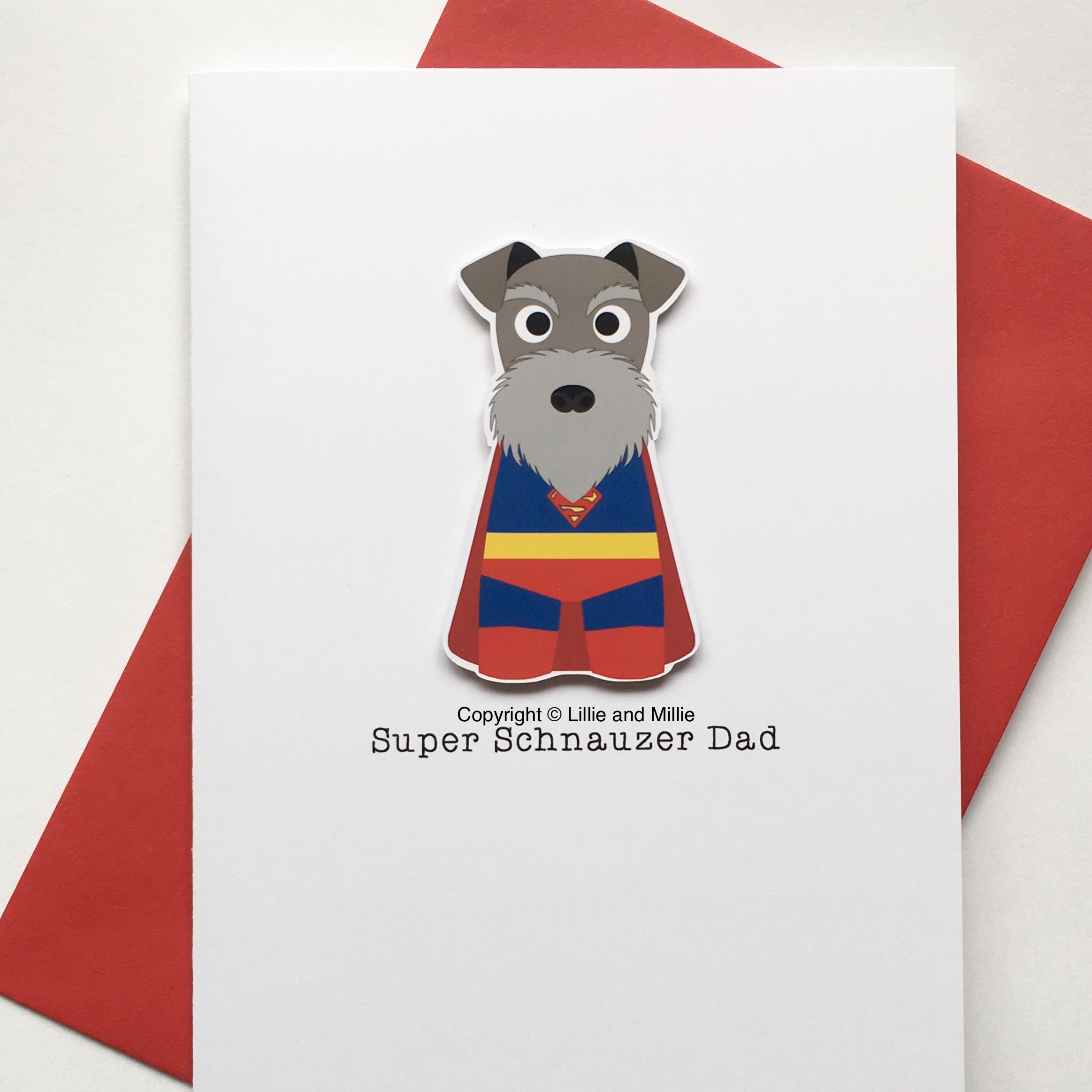 Cute and Cuddly Large Super Schnauzer Dad SALE Card