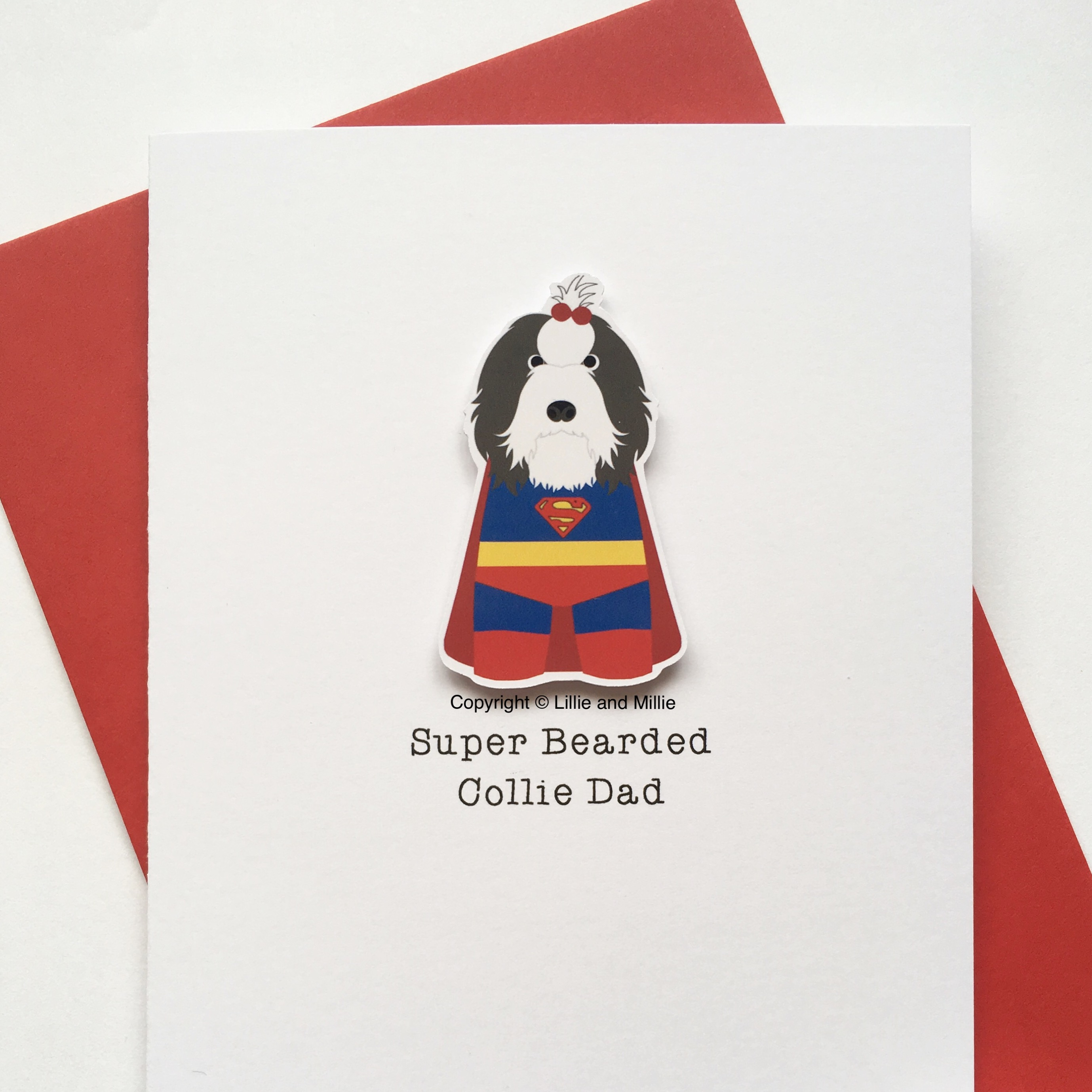 Precious Pooch Super Bearded Collie Dad Card