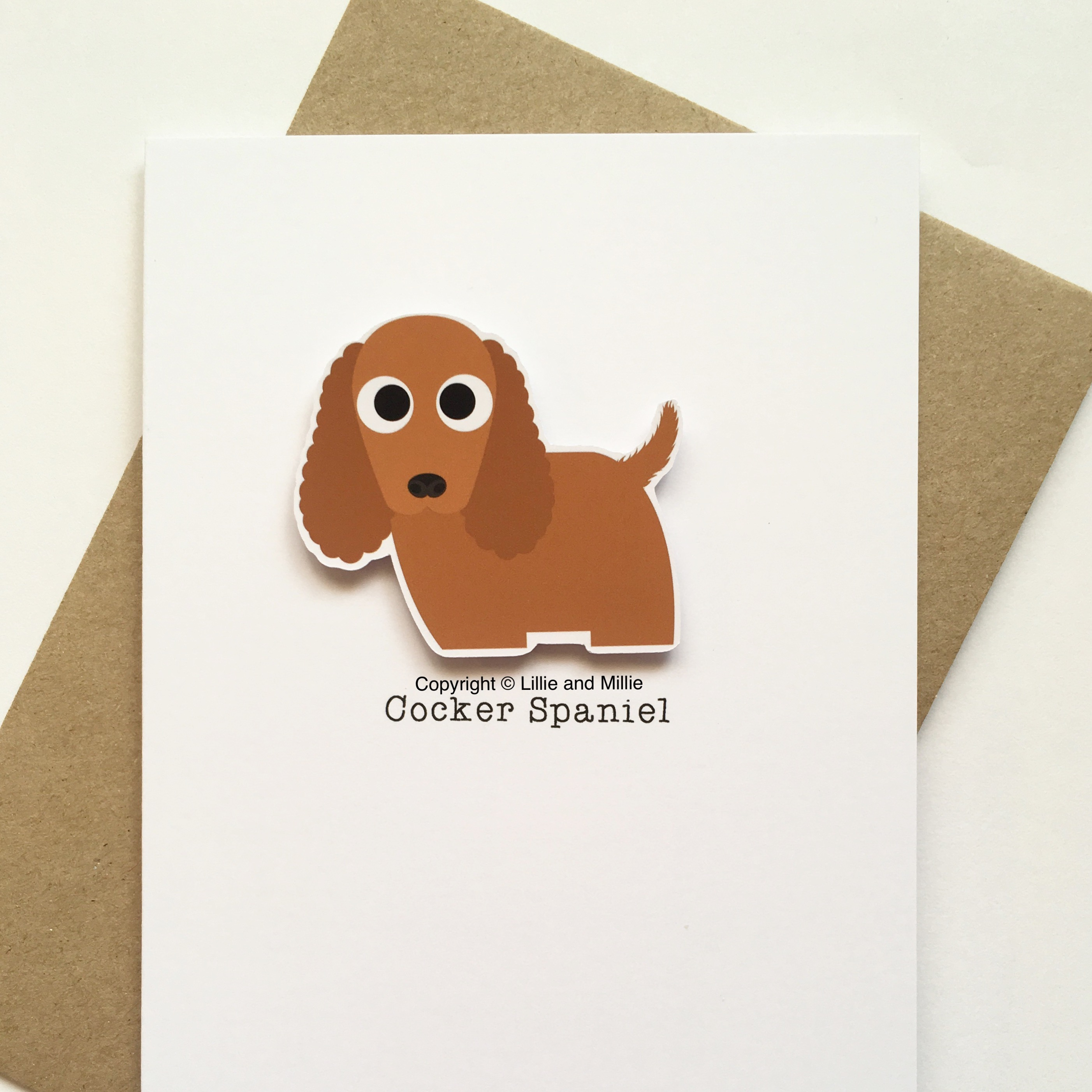 Cute and  Red Cocker Spaniel Card