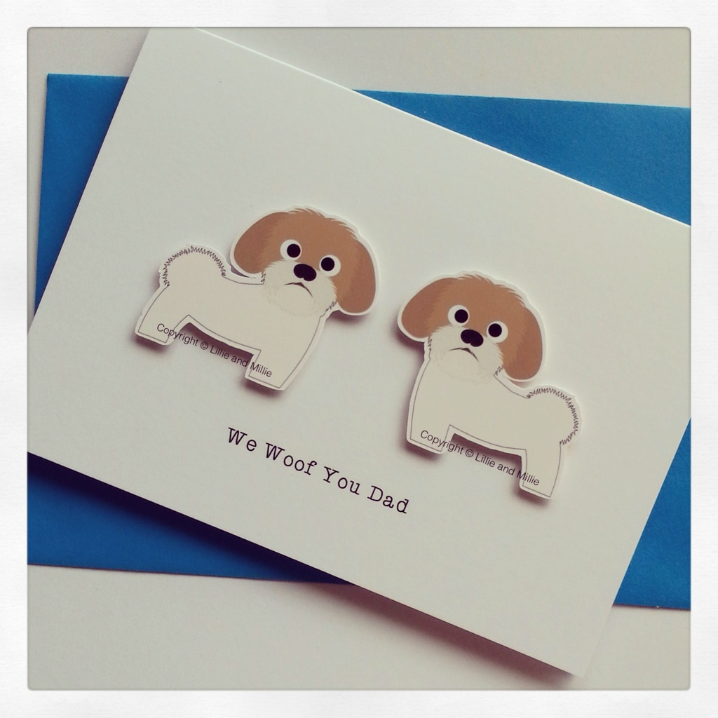 Cute and Cuddly We Woof You Dad Shih Tzu Card