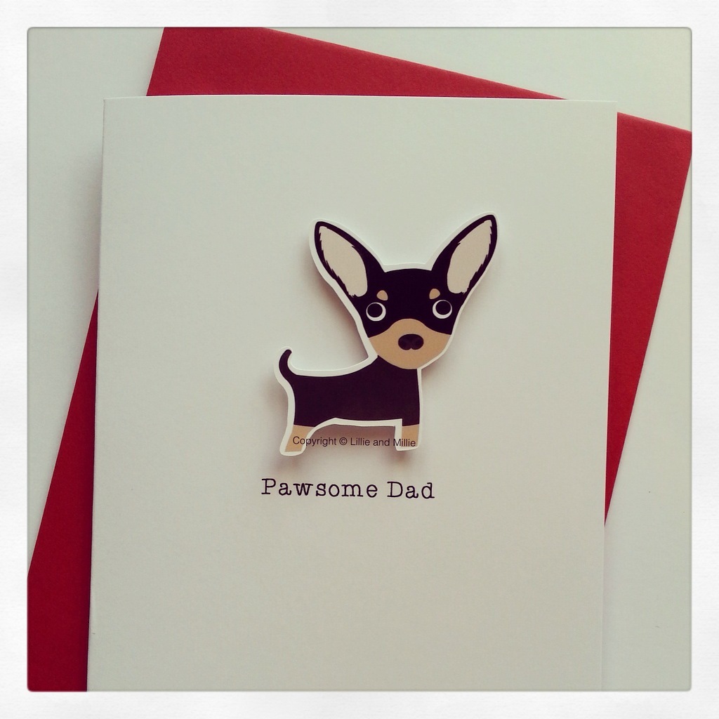 Cute and Cuddly Pawsome Dad Chihuahua Card