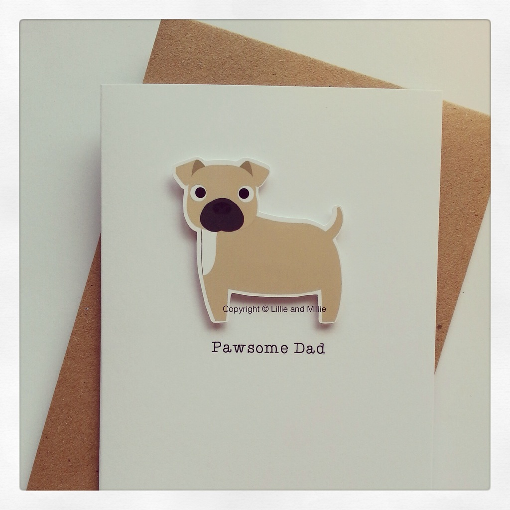 Cute and Cuddly Pawsome Dad Staffie Card