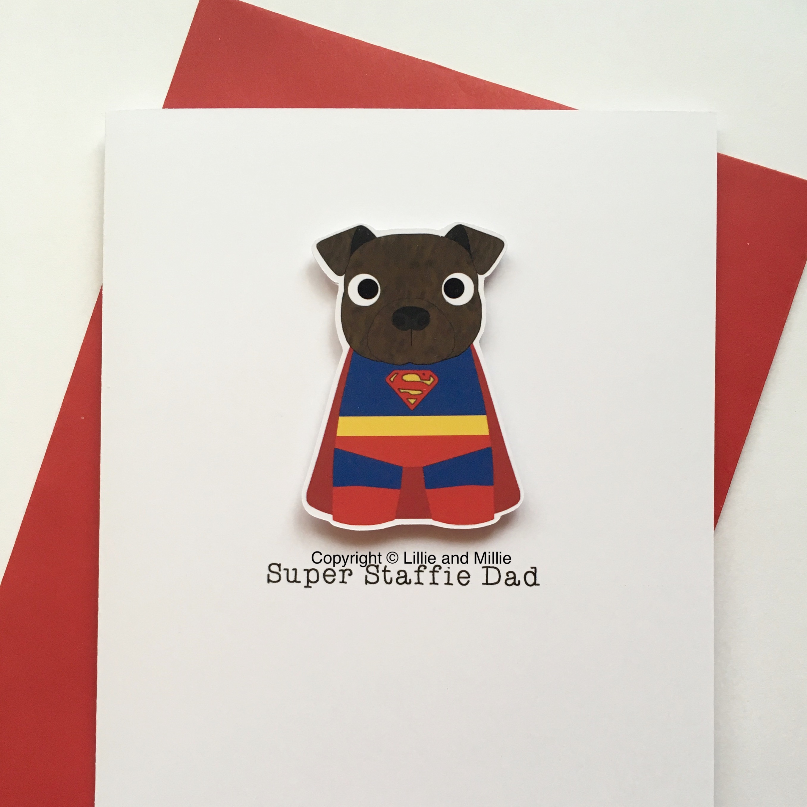 Cute and Cuddly Brindle Super Staffie Dad Card