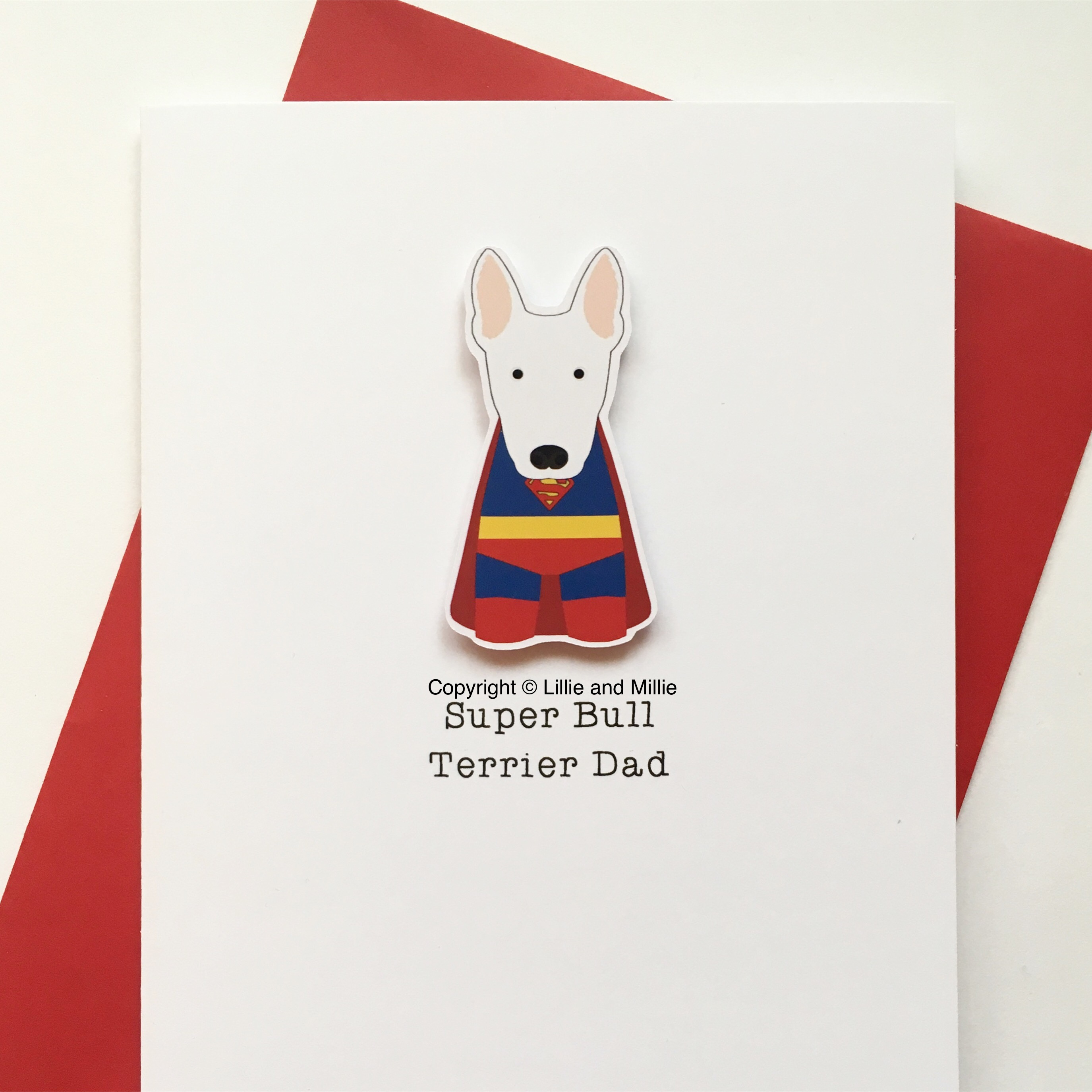 Cute and Cuddly Super Bull Terrier Dad Card
