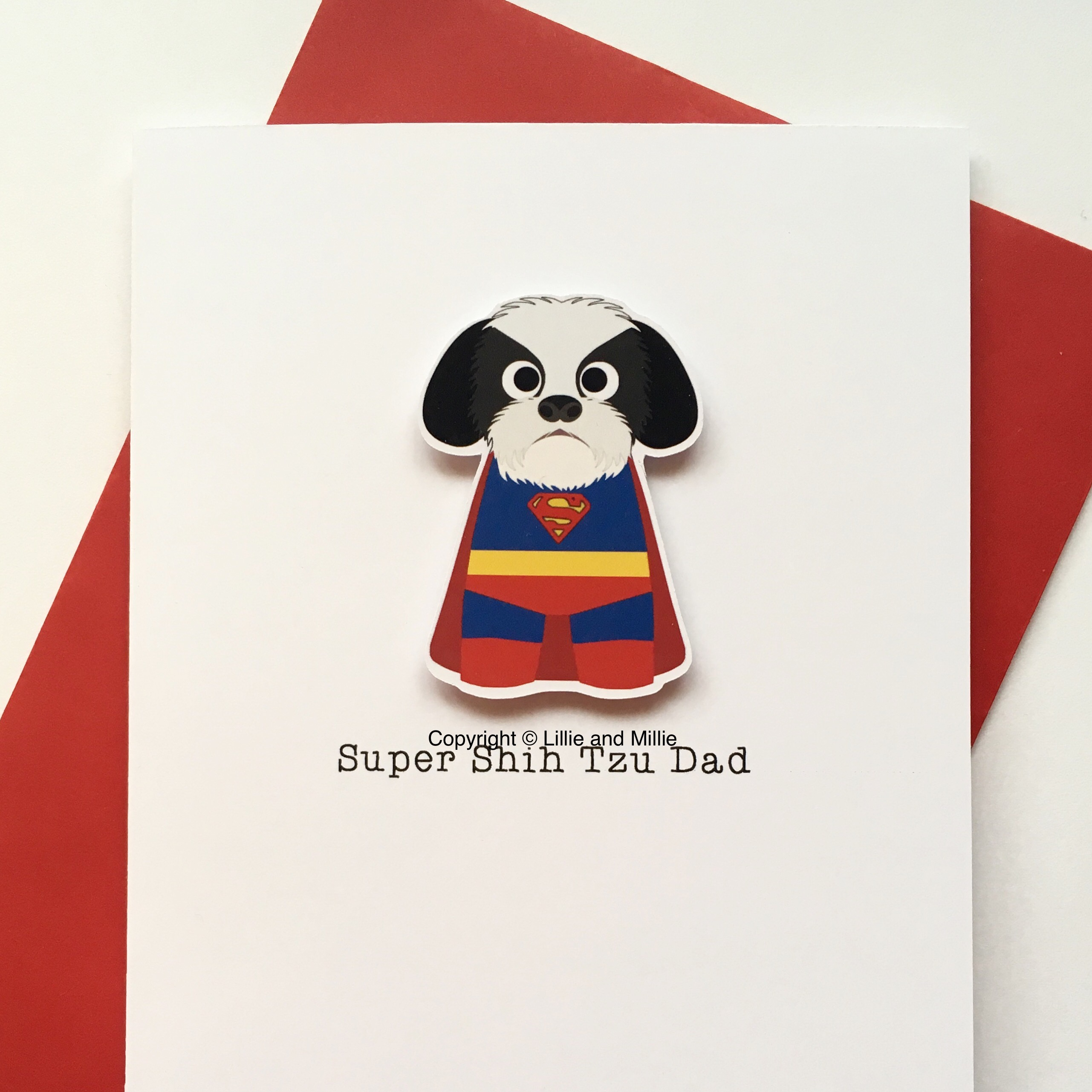 Cute and Cuddly Black and White Super Shih Tzu Dad Card