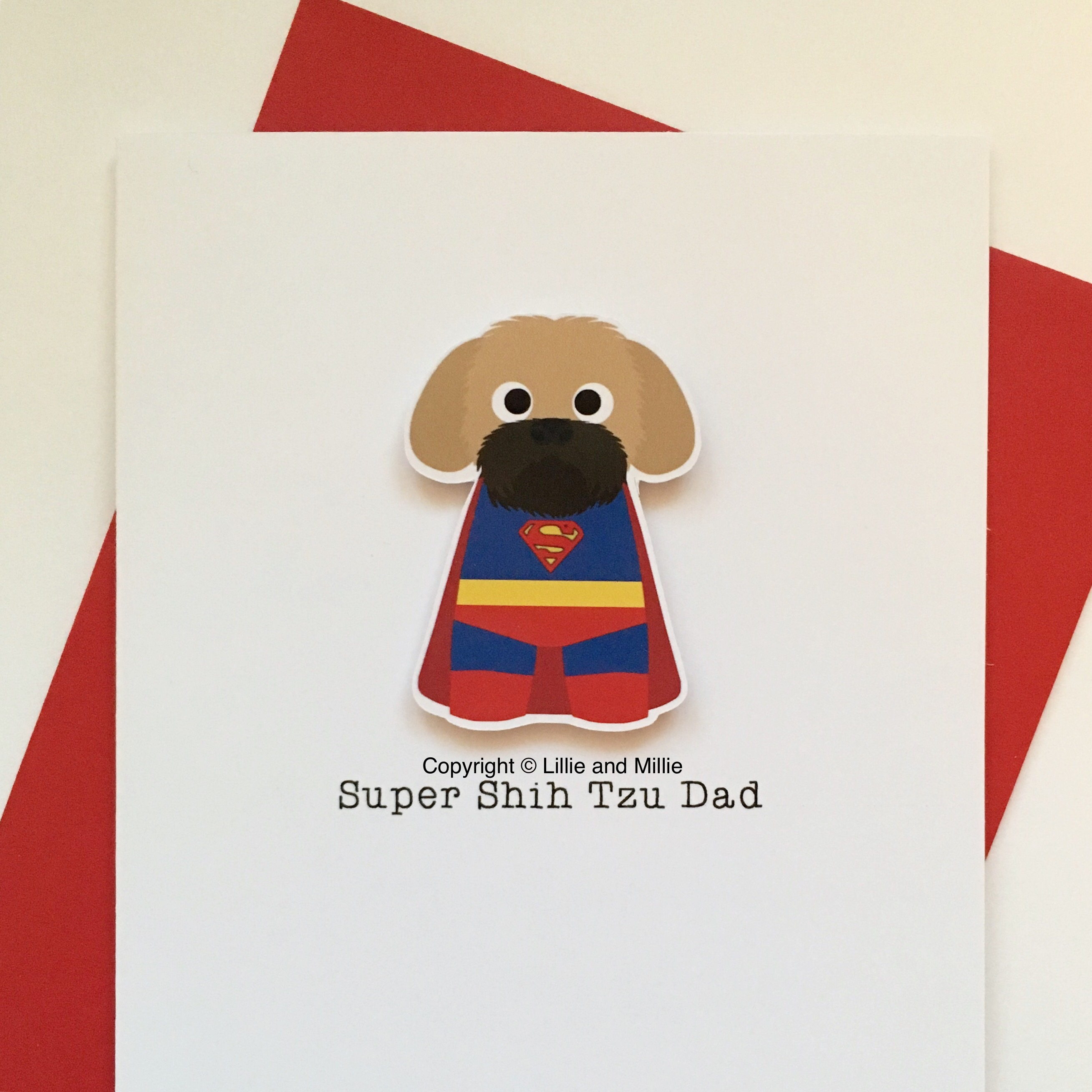 Cute and Cuddly Black Mask Super Shih Tzu Dad Card
