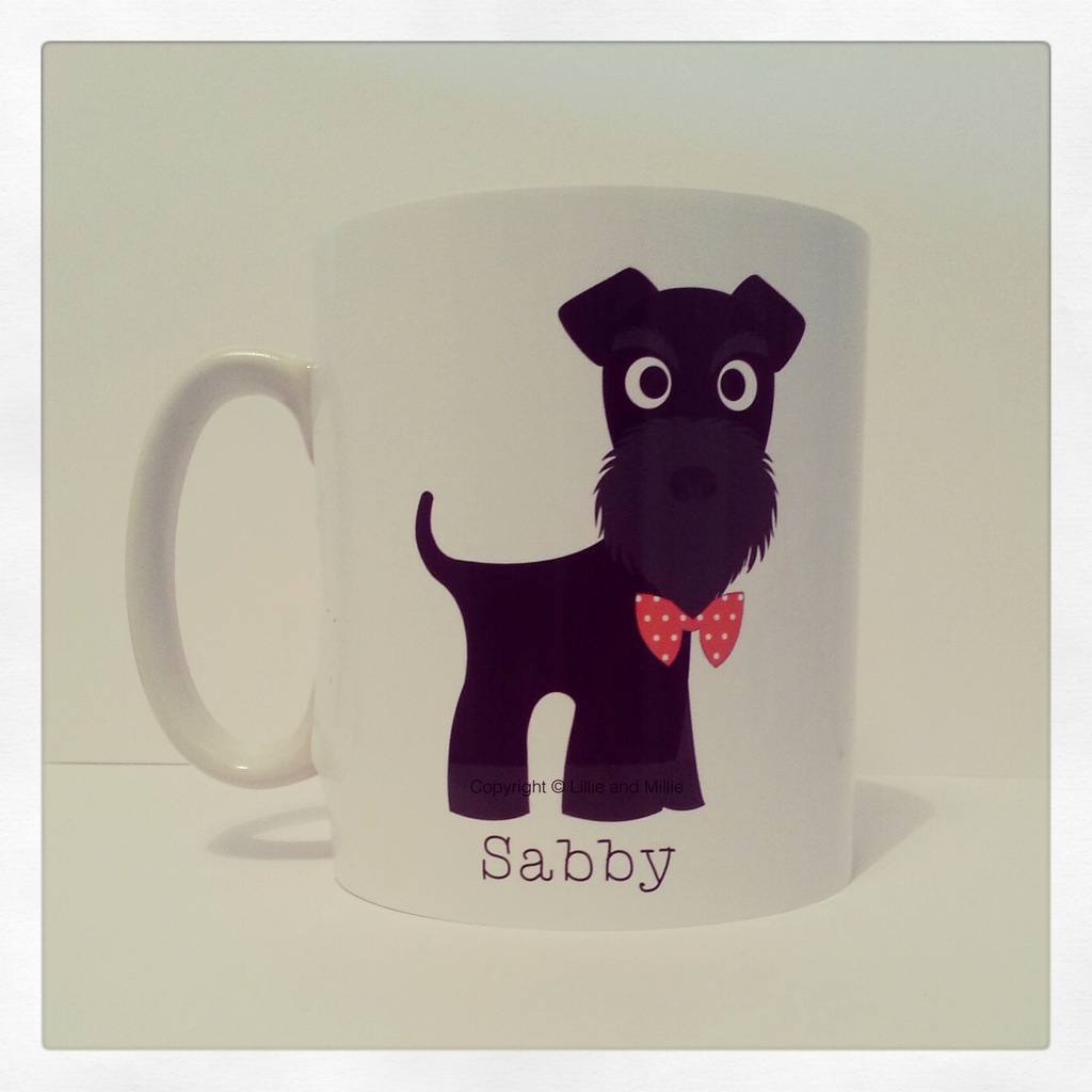 Cute and Cuddly Black Bow Tie Schnauzer Mug