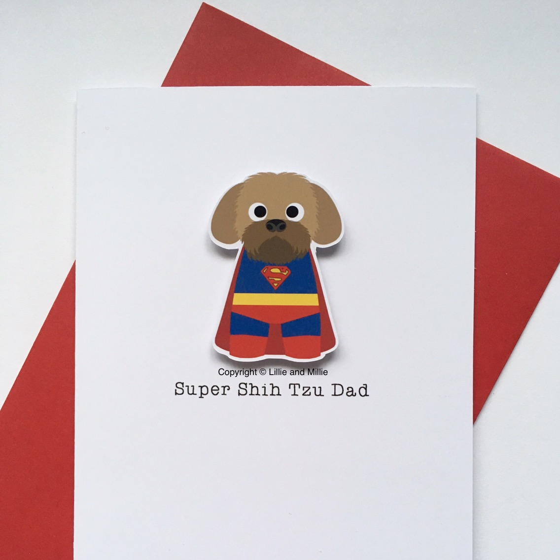 Cute and Cuddly Gold Super Shih Tzu Dad Card