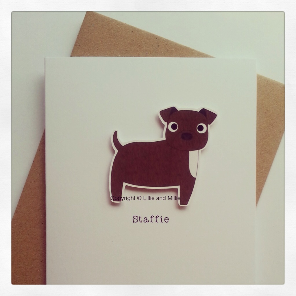 Cute and Cuddly Brindle Staffie Card