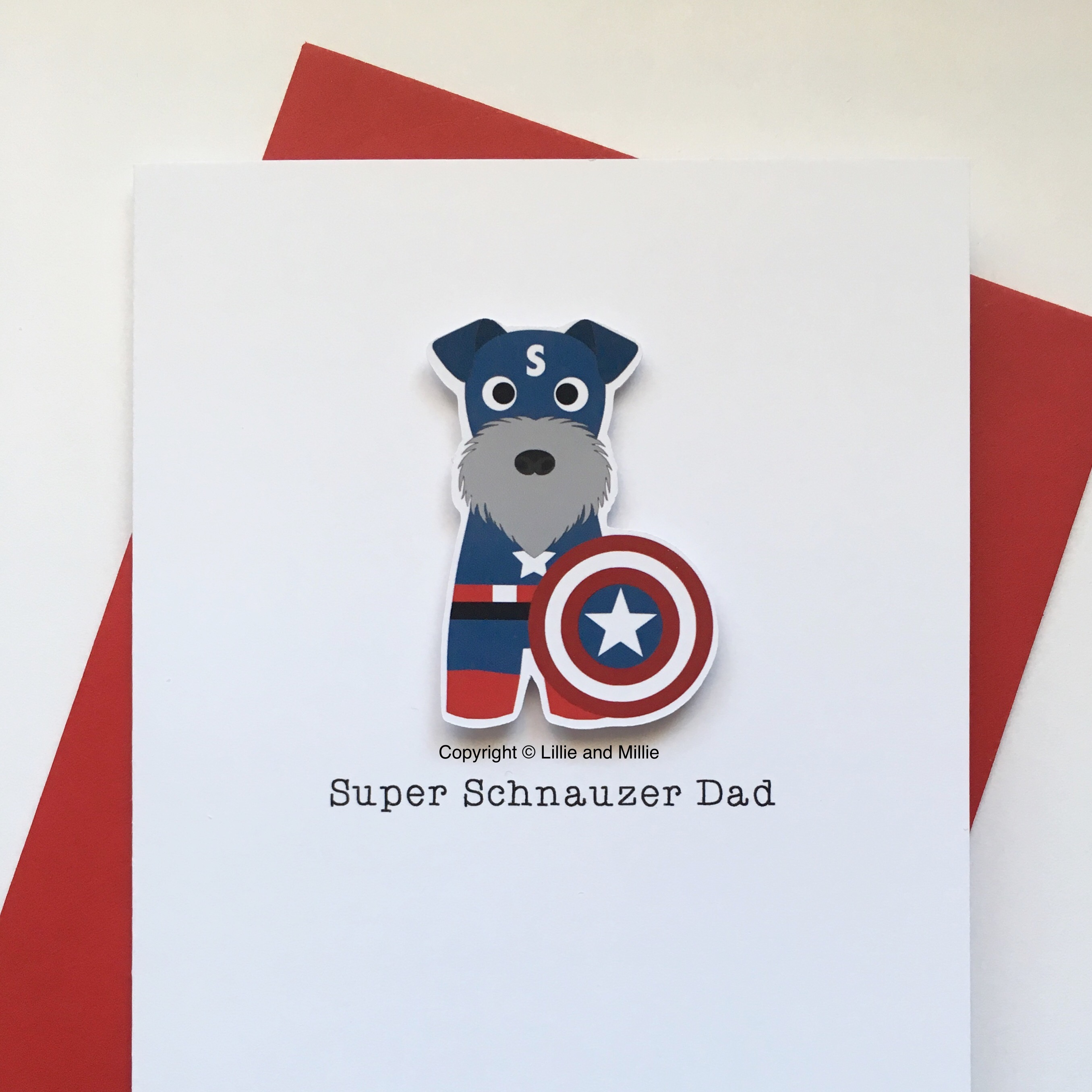 Cute and Cuddly Salt and Pepper Super Captain Schnauzer with Shield Dad Card