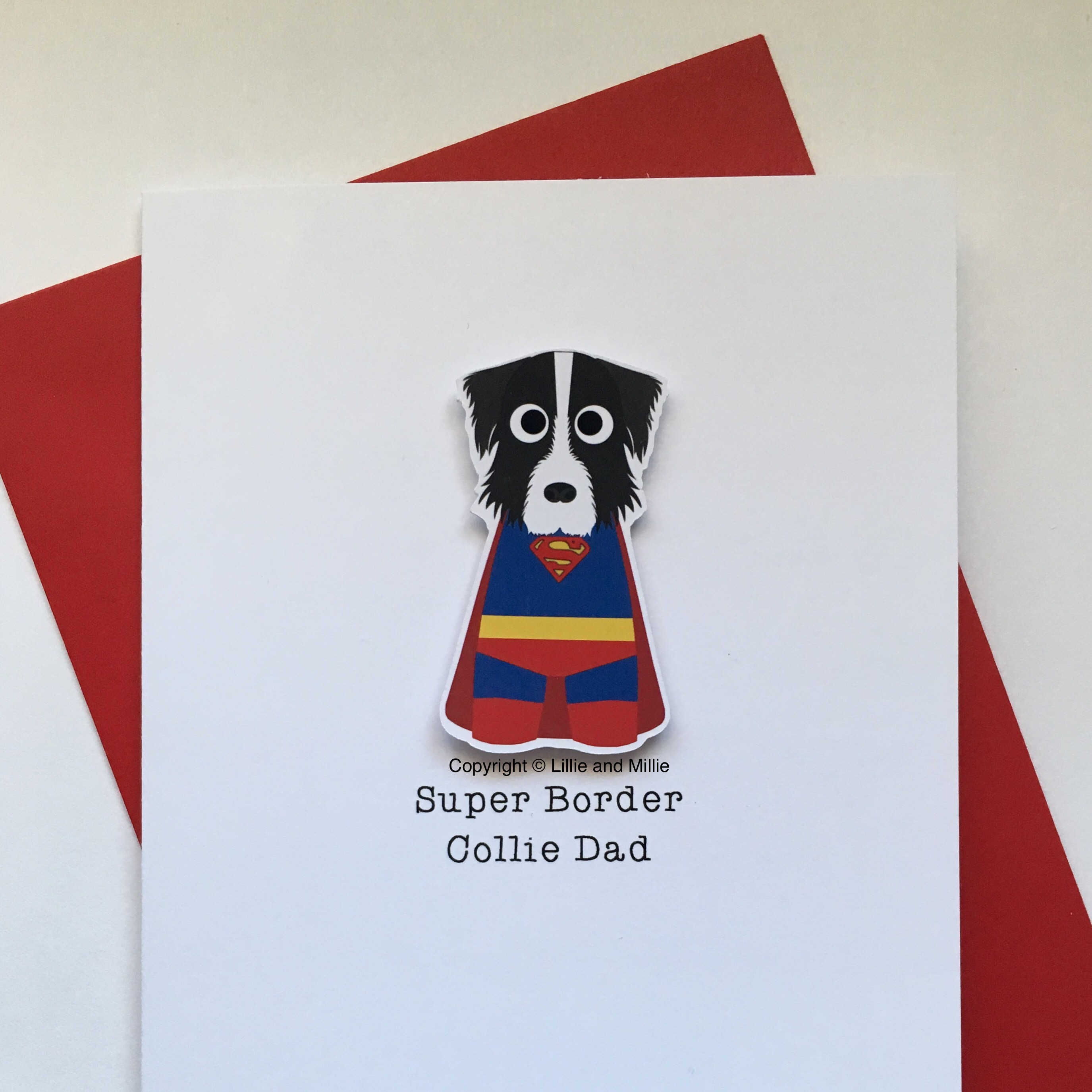 Cute and Cuddly Super Border Collie Dad Card