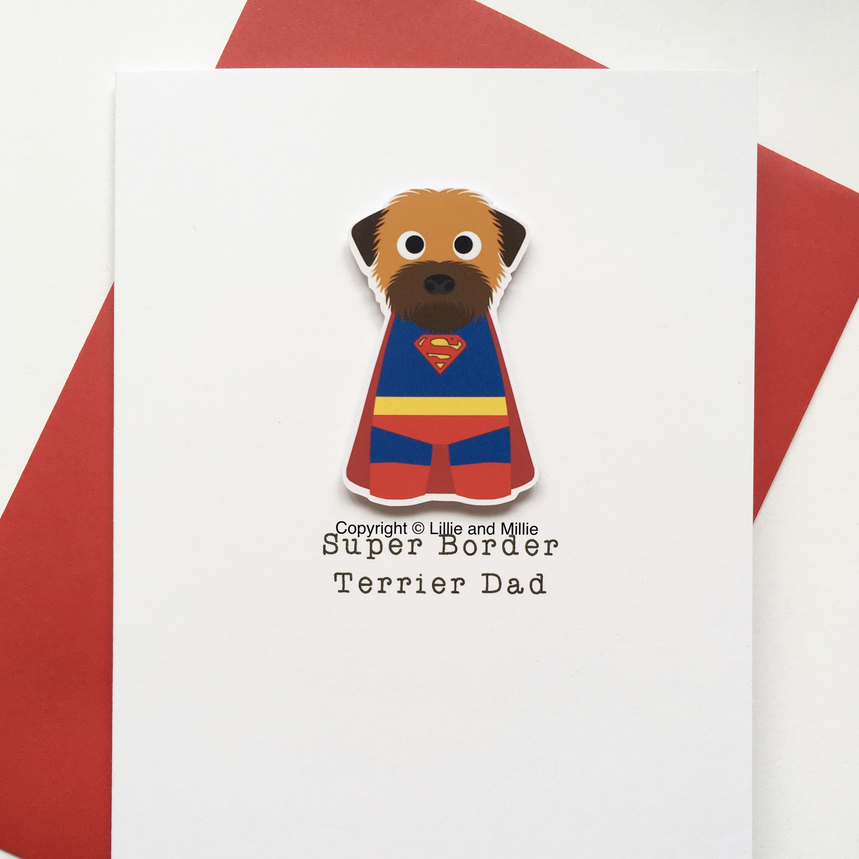 Cute and Cuddly Super Grizzle and Tan Border Terrier Dad Card