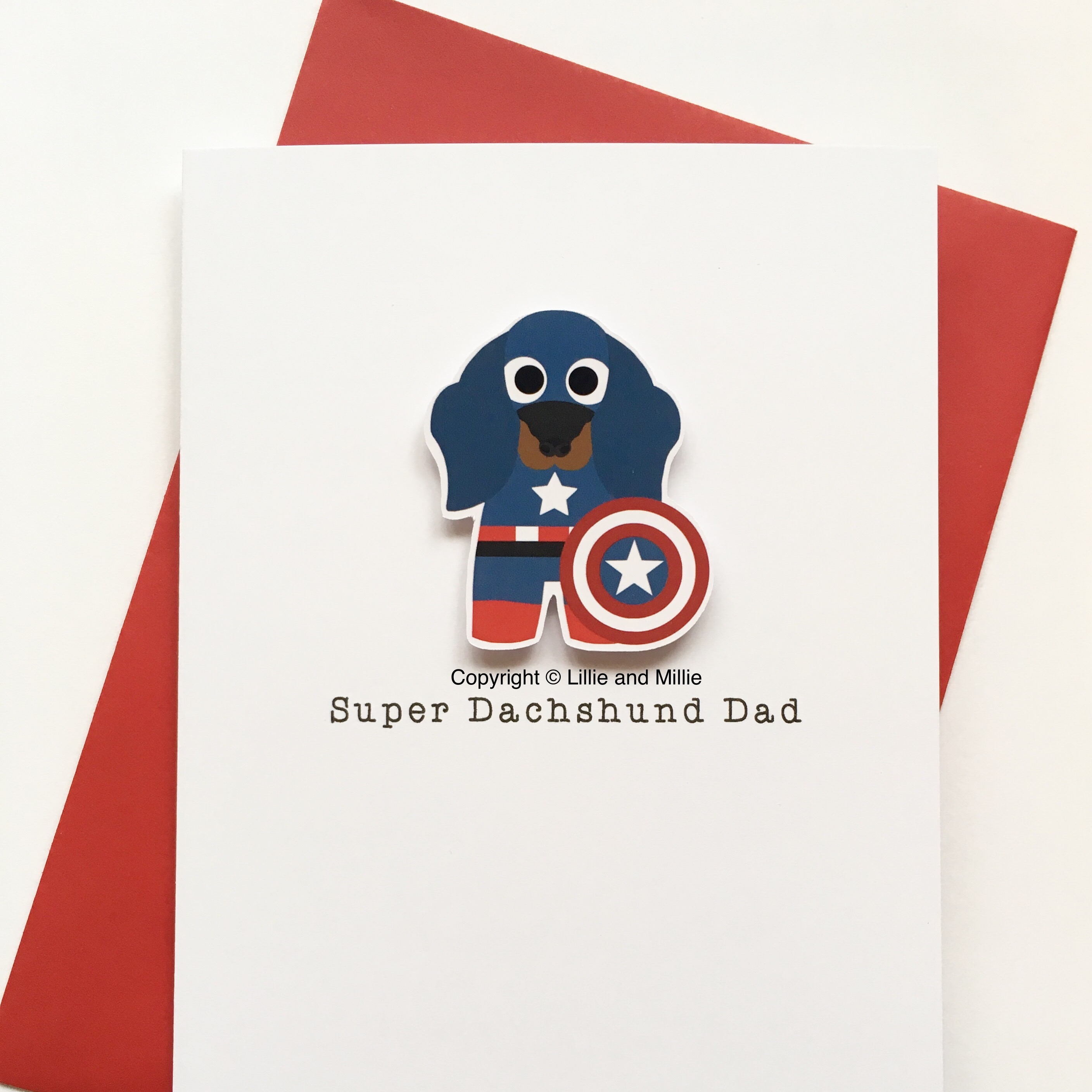 Cute and Cuddly Super Captain America Dachshund Dad Card