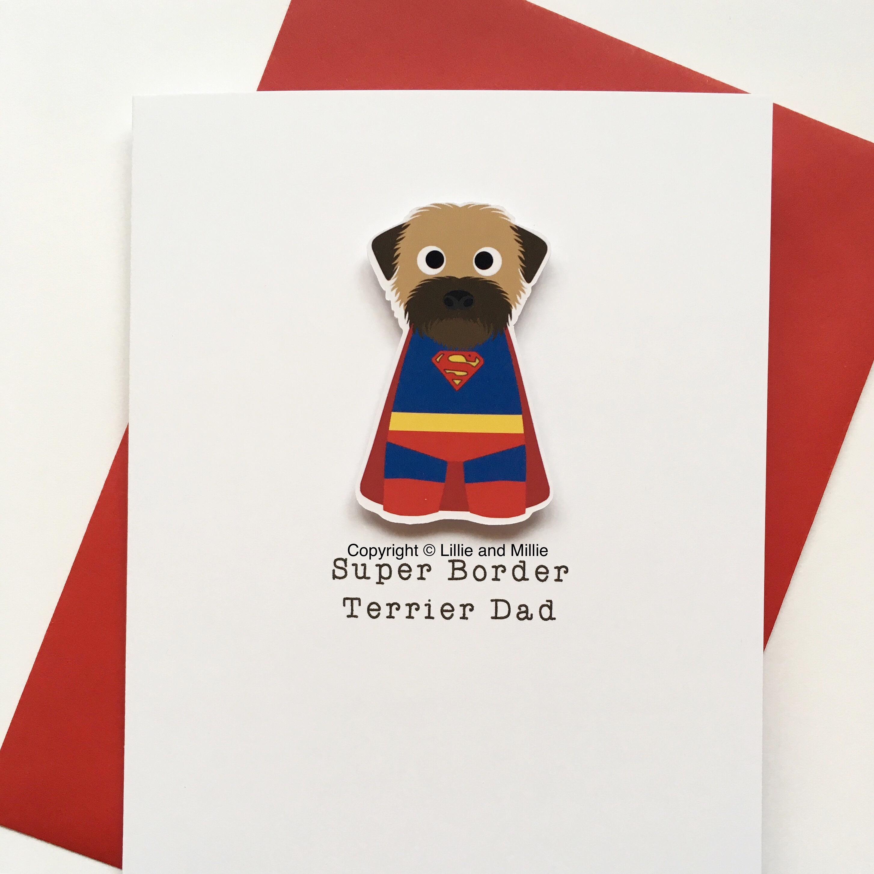 Cute and Cuddly Super Wheaten Border Terrier Dad Card