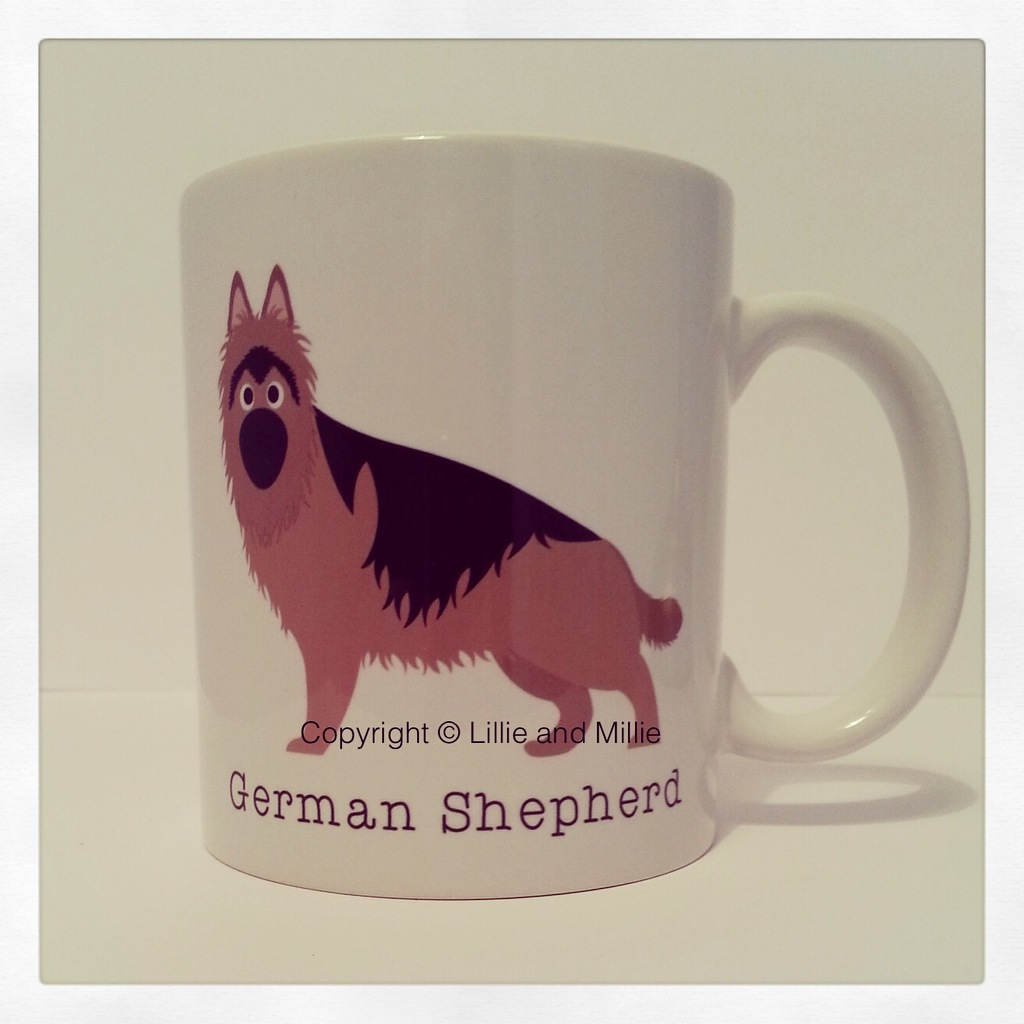 Cute and Cuddly Long Haired German Shepherd Mug