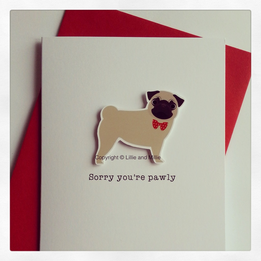 Precious Pooch Sorry You're Pawly Fawn Pug Card