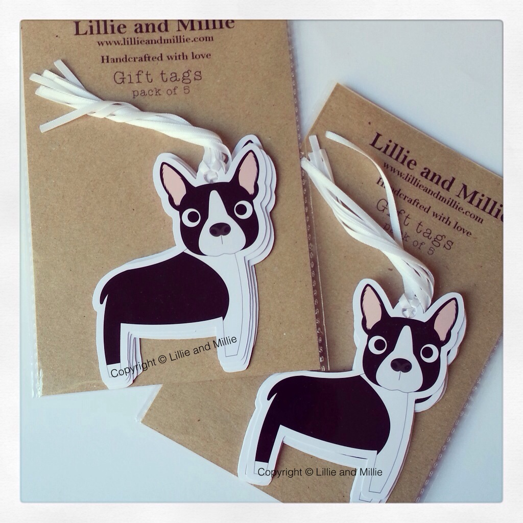 Cute and Cuddly Boston Terrier Gift Tags
